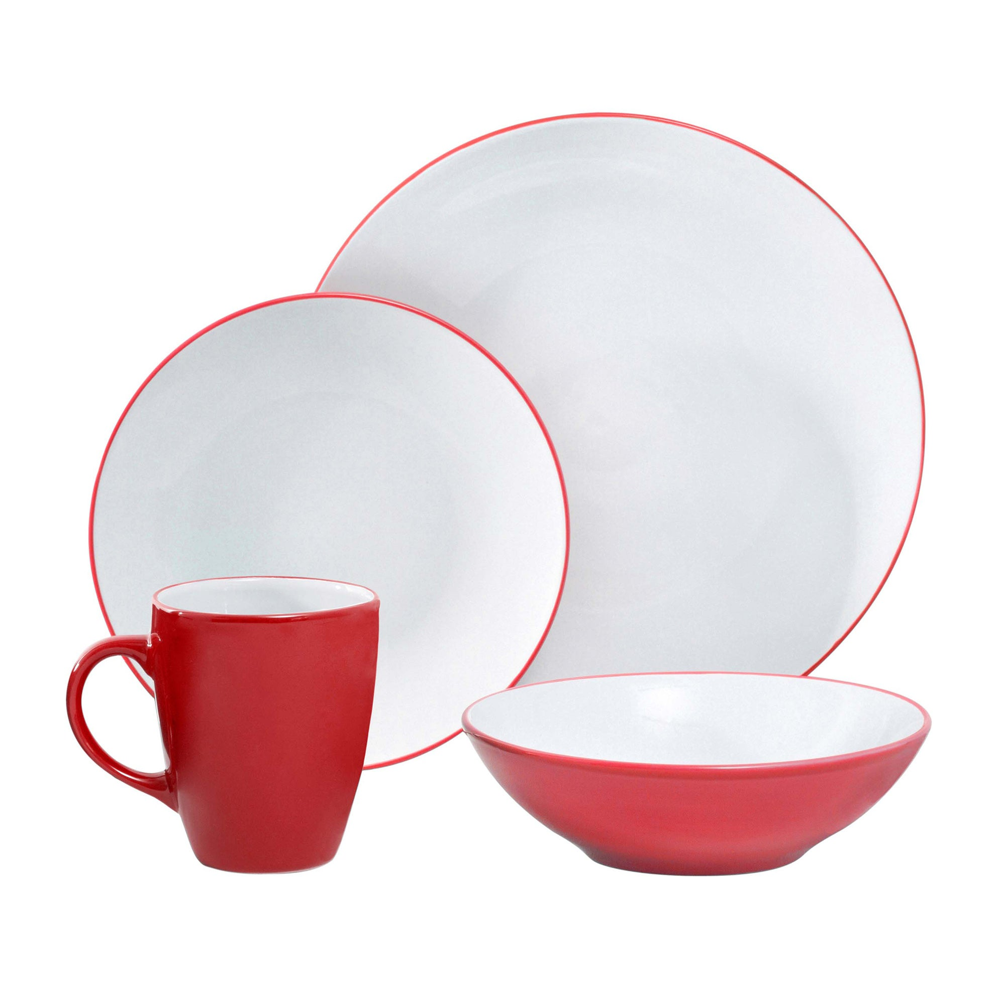 Image of Spectrum 16 Piece Red Dinner Set Red
