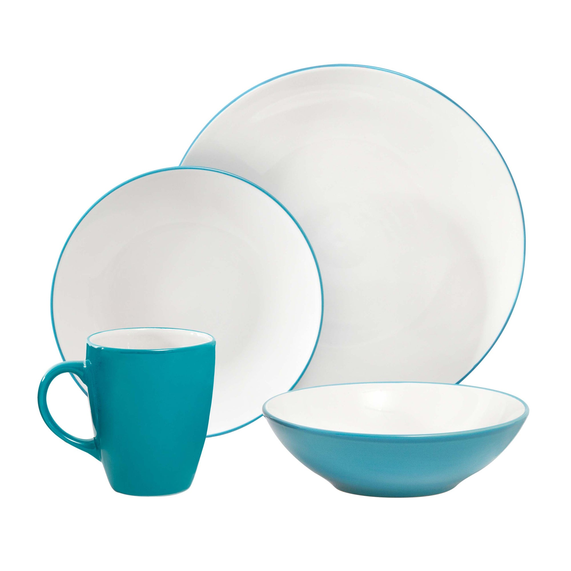 Image of Spectrum 16 Piece Turquoise Dinner Set Turquoise (Blue)