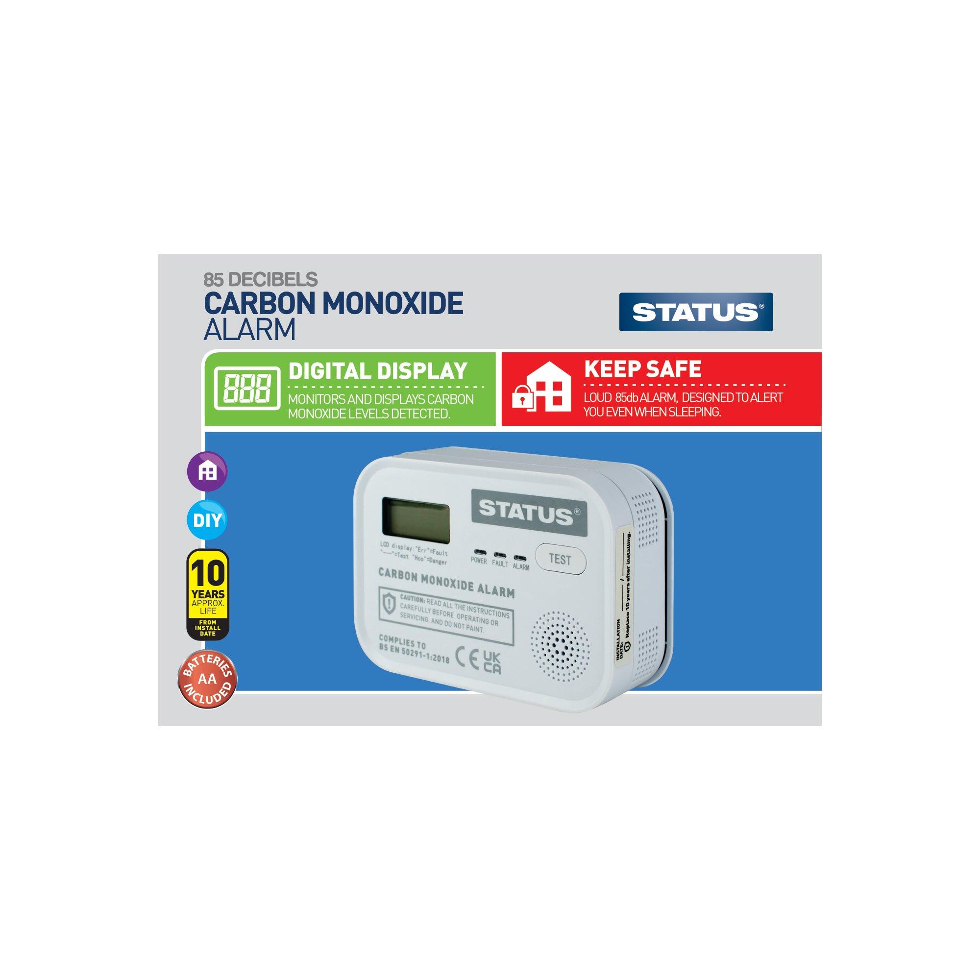 Status Digital Carbon Monoxide Alarm Black