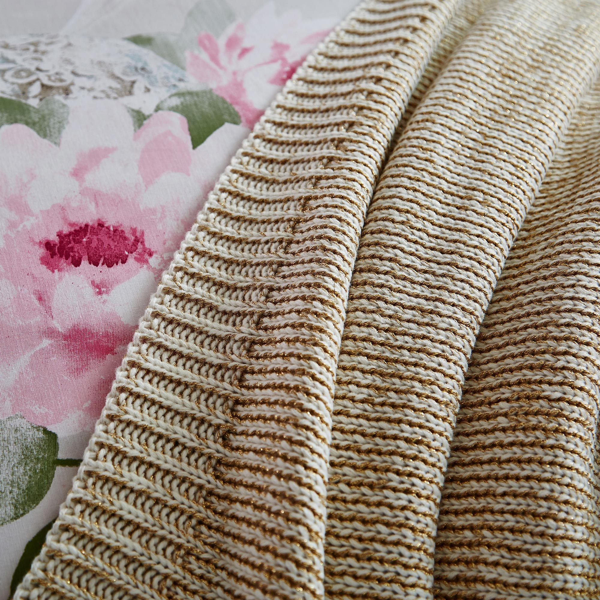 Image of Buddha Metallic Natural Knit Throw Natural