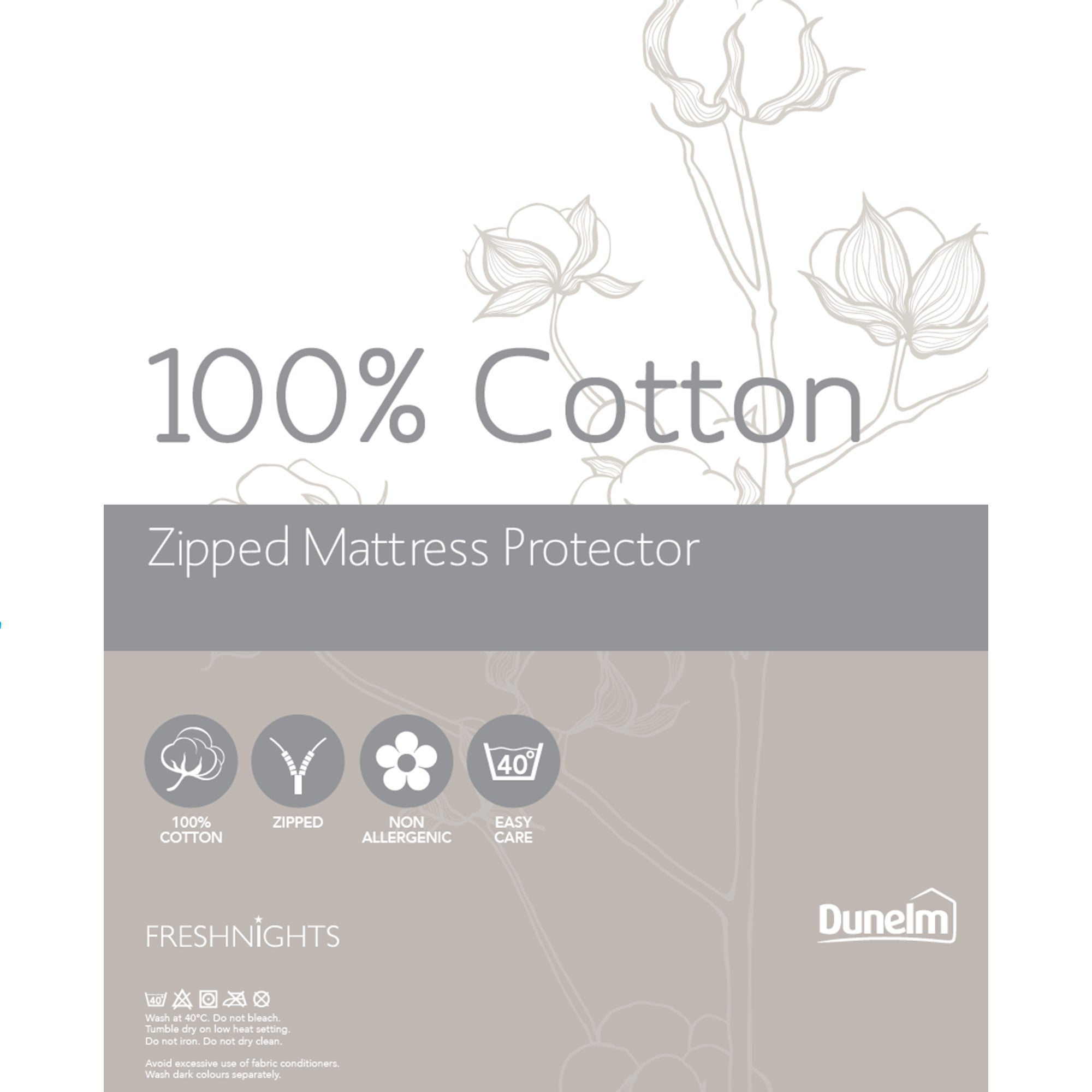 Image of Cotton Zipped Mattress Protector White