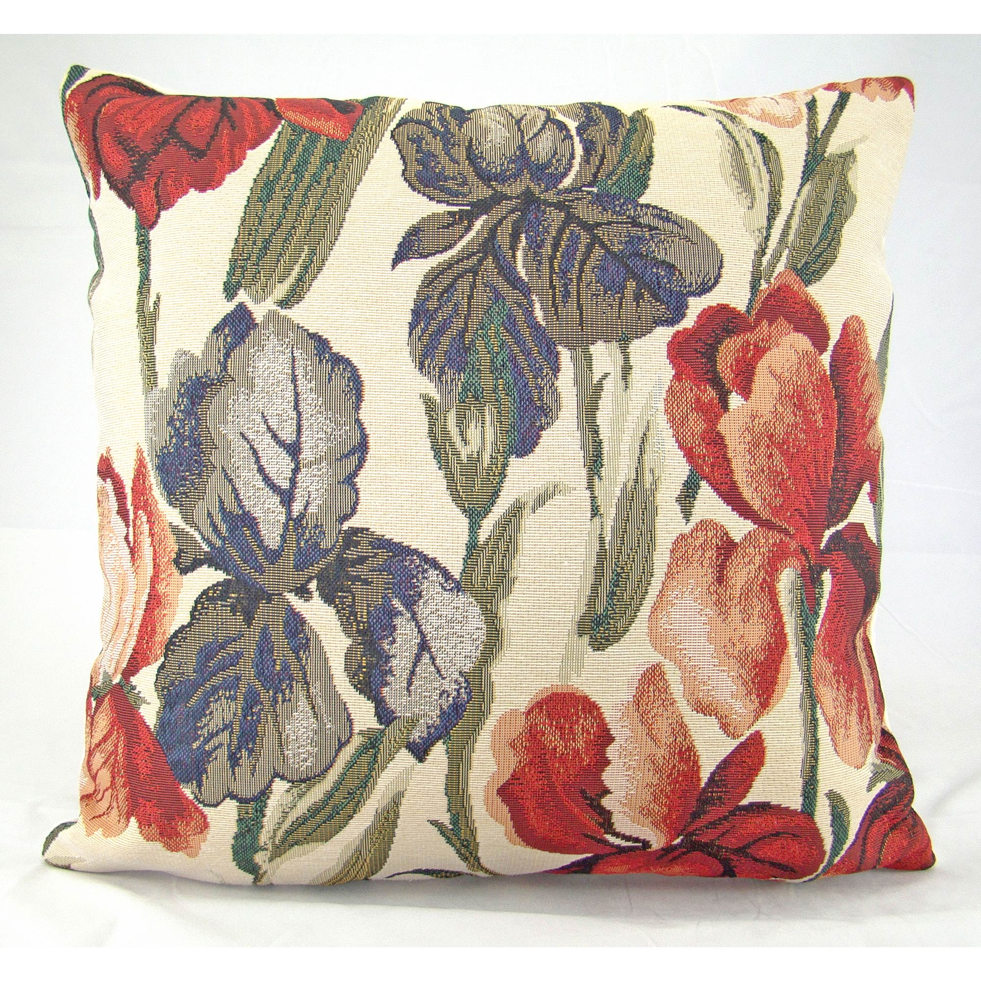 Photo of Multi-coloured traditional tulip cushion cover cream / blue/ red