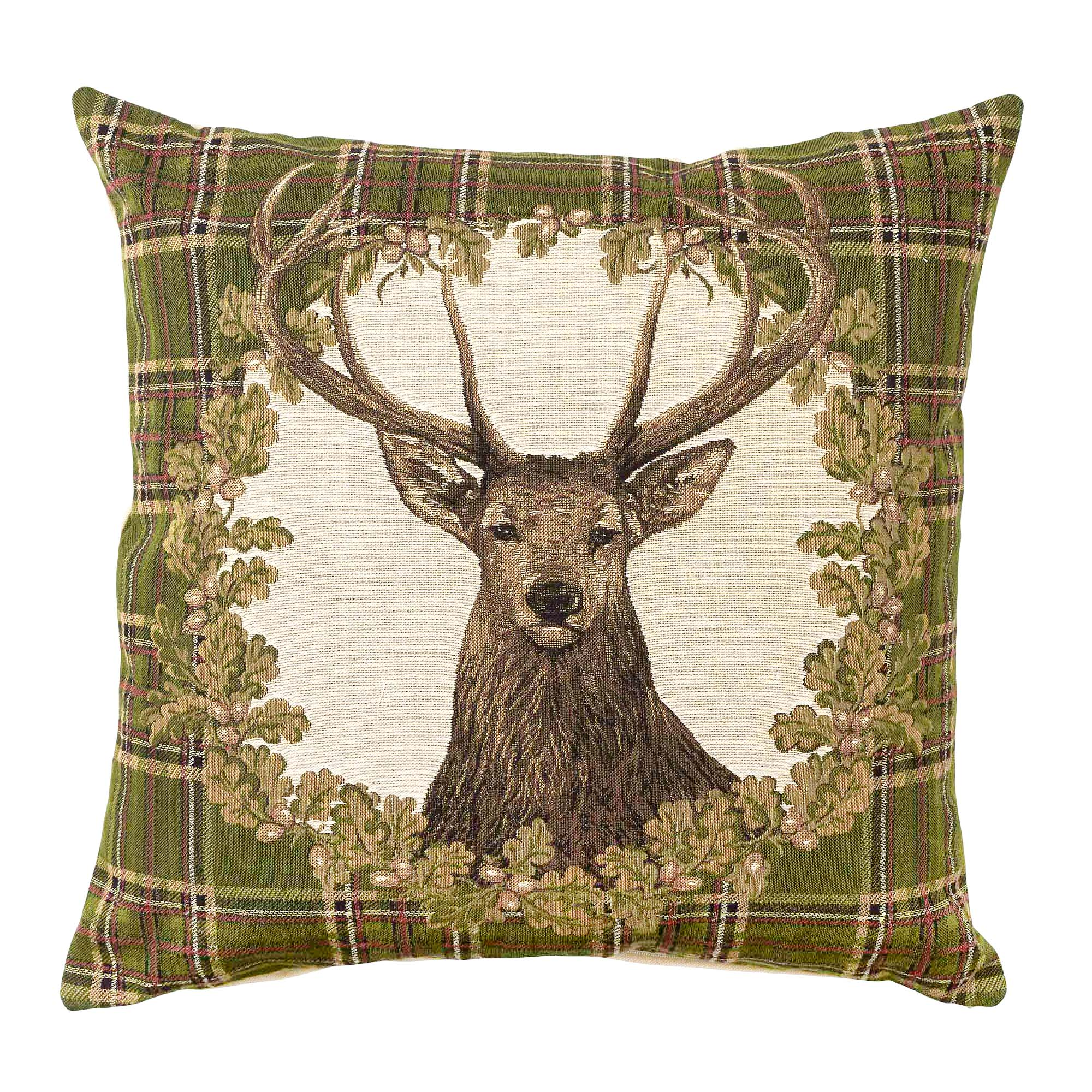 Photo of Stag tartan tapestry cushion cover green