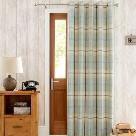 & Highland Check Duck-Egg Lined Eyelet Door Curtain | Dunelm Pezcame.Com