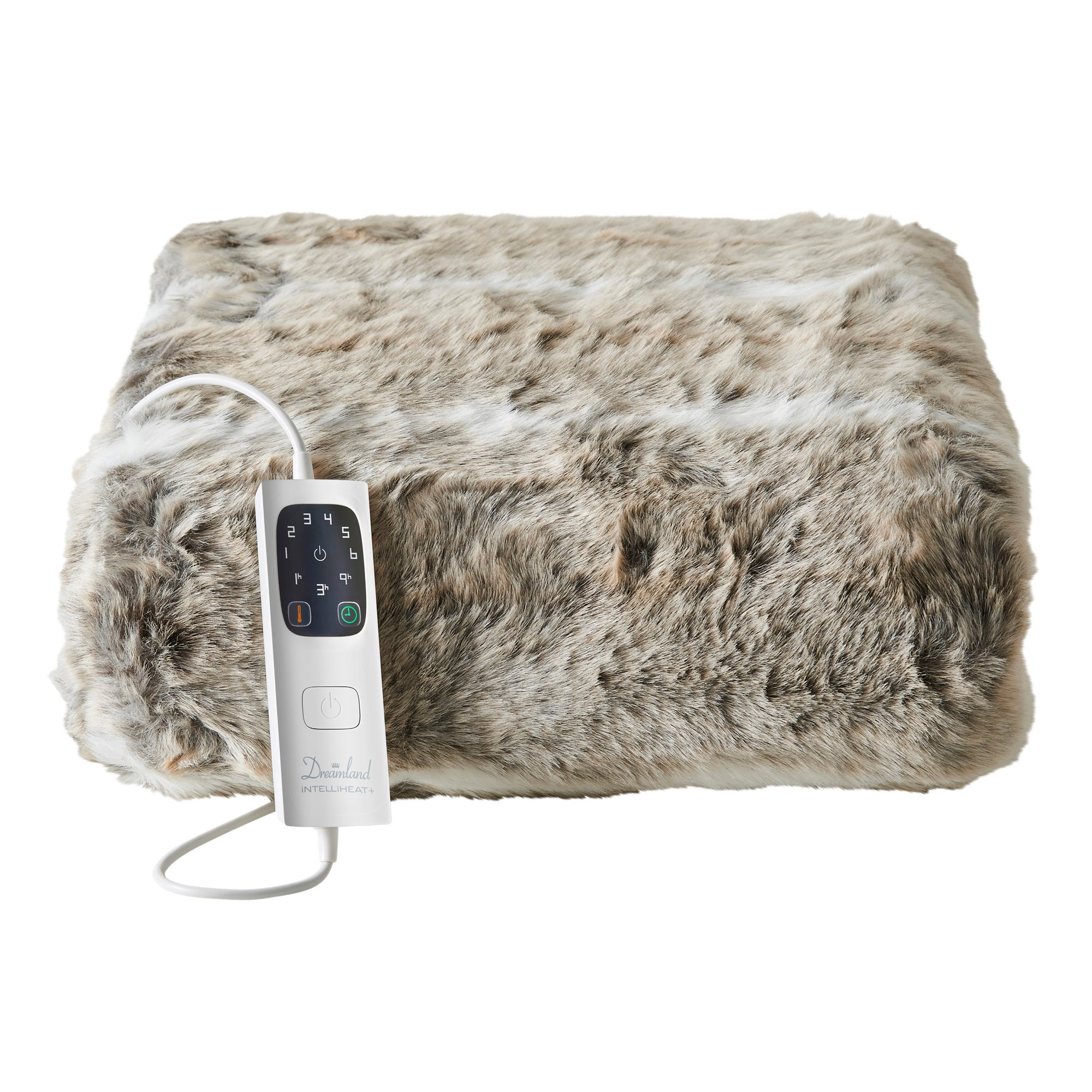 Dreamland Relaxwell Faux Fur Heated Throw Natural
