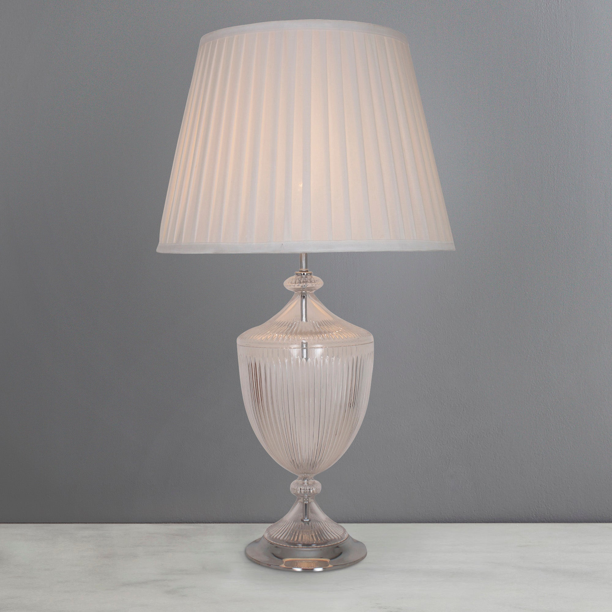 Photo of Dorma alderley elegnce ribbed glass table lamp clear