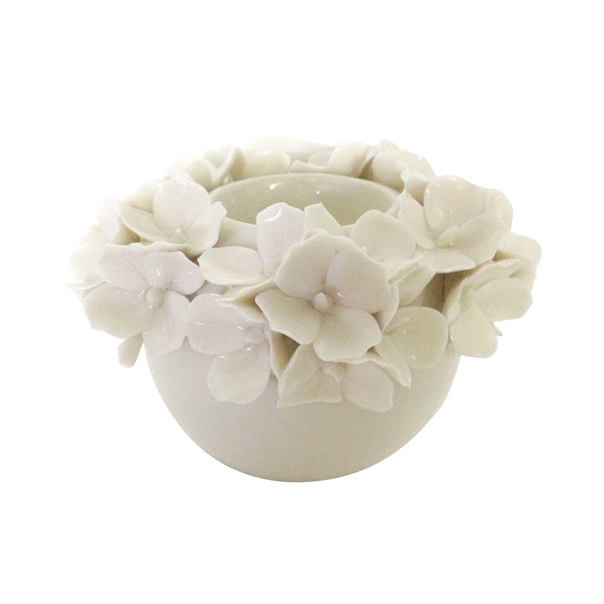 Image of Dorma Cream Flower Tealight Holder Cream