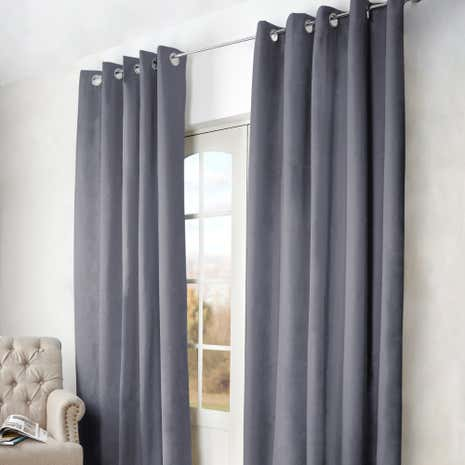 Grey Arizona Blackout Eyelet Curtains | Dunelm