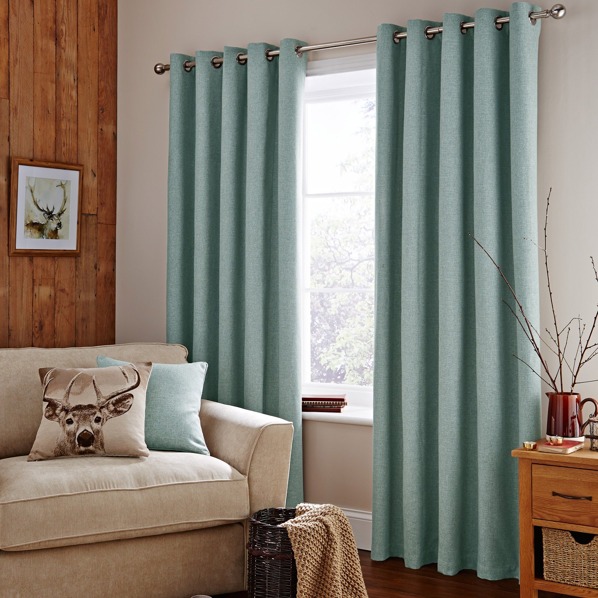 Photo of Duck-egg harris lined eyelet curtains duck egg -blue-