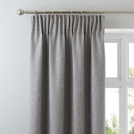 Harris Grey Thermal Pencil Pleat Curtains | Dunelm
