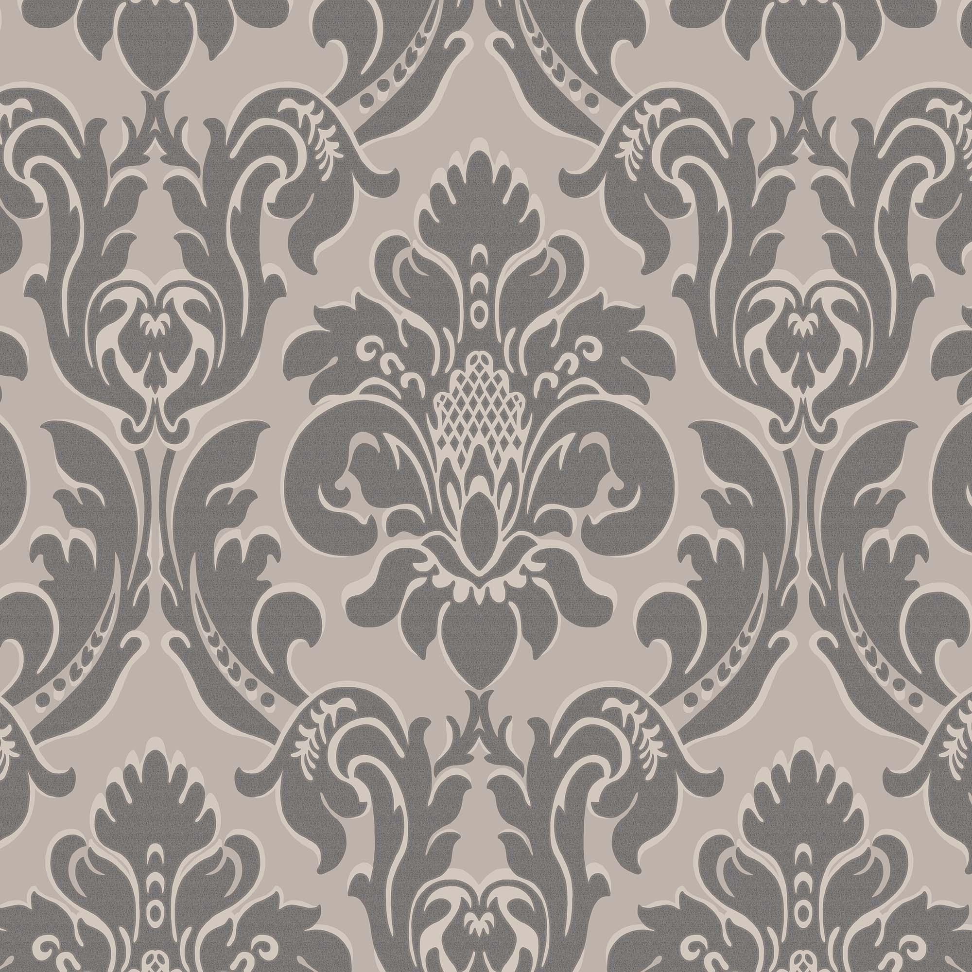 Charcoal Versailles Wallpaper Grey