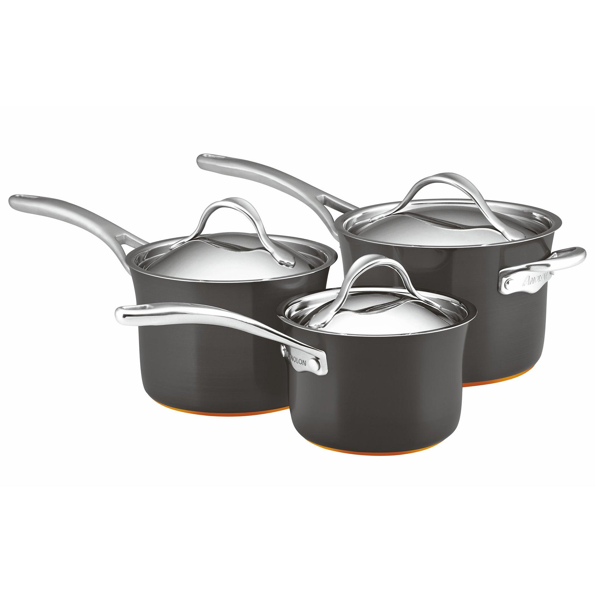 Anolon Nouvelle Copper 3 Piece Pan Set Black