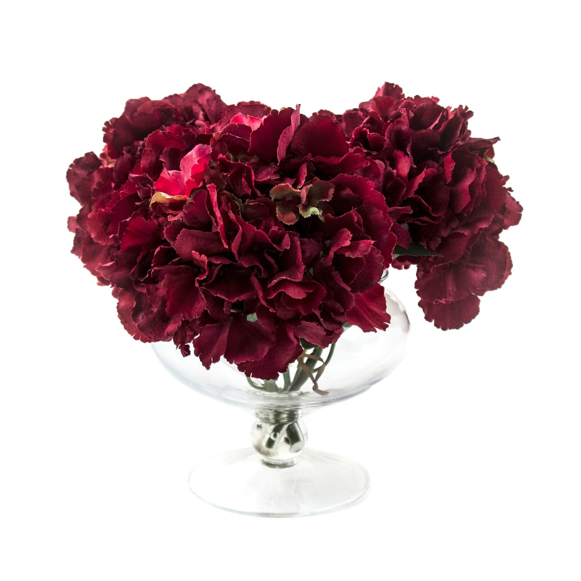 Image of Dorma Hydrangeas in Footed Vase Red