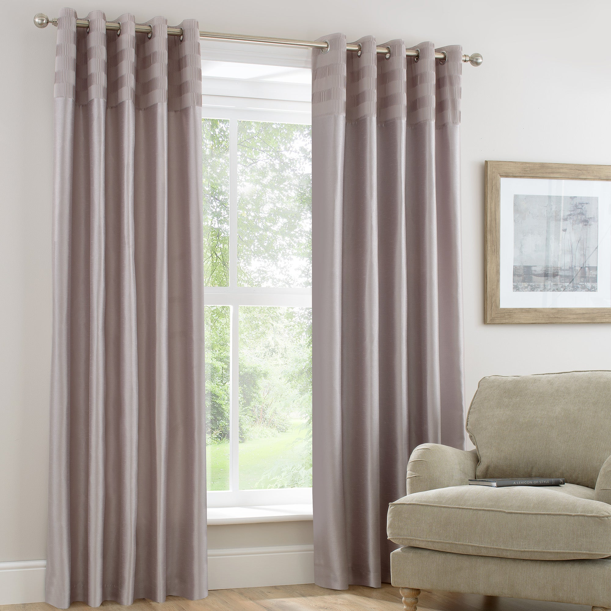 Photo of Atlanta champagne lined eyelet curtains champagne brown