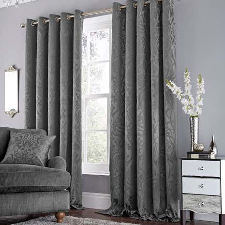 Harrow Grey Lined Eyelet Curtains