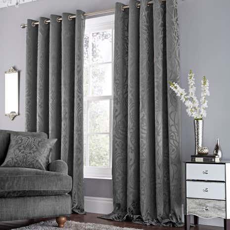 Harrow Grey Lined Eyelet Curtains