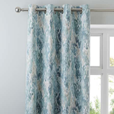 Waves Seafoam Lined Eyelet Curtains | Dunelm