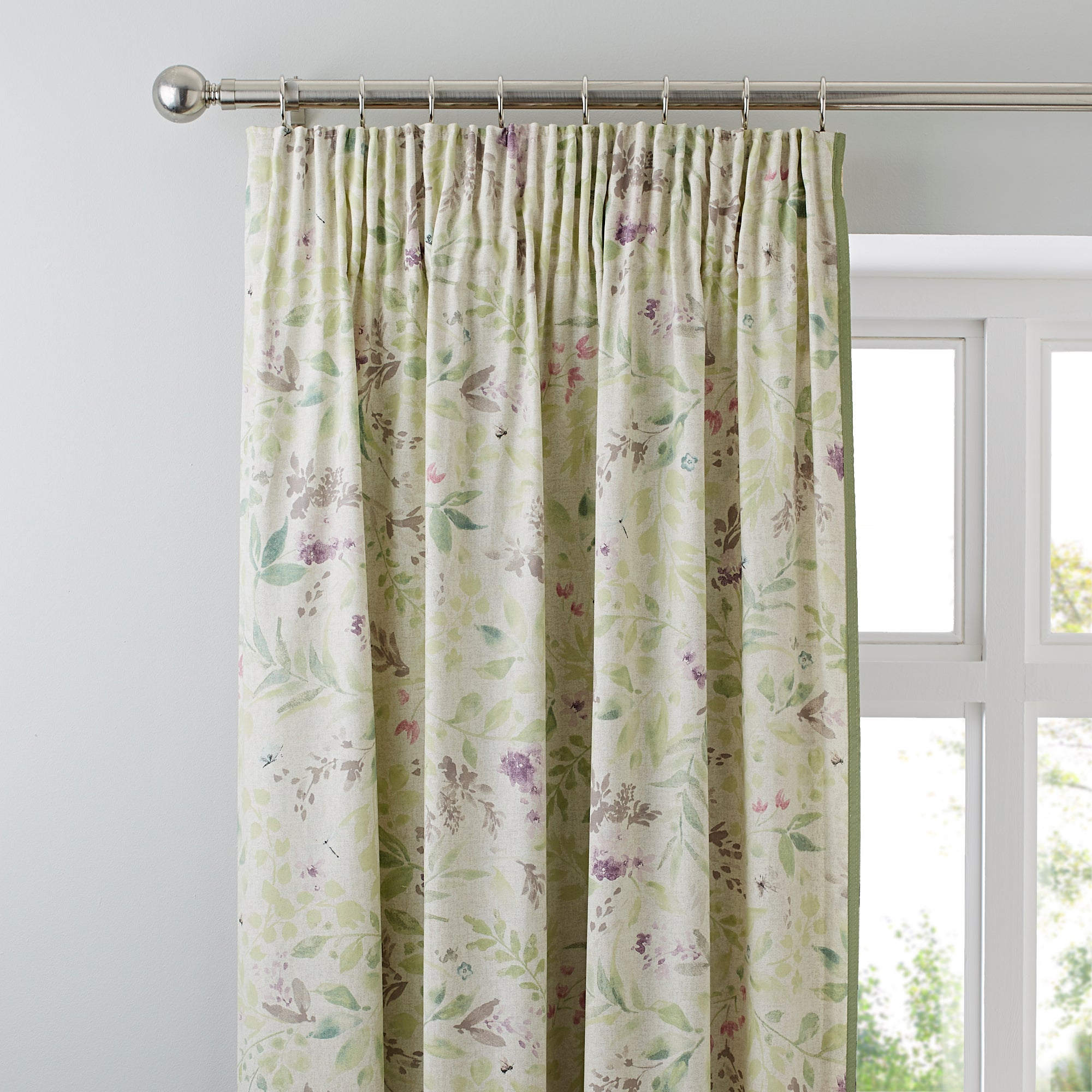 Photo of Wisley lined pencil pleat curtains cream / pale green