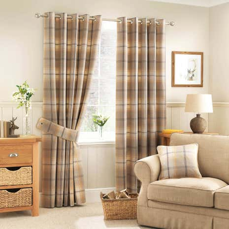 Highland Check Ochre Lined Eyelet Curtains | Dunelm