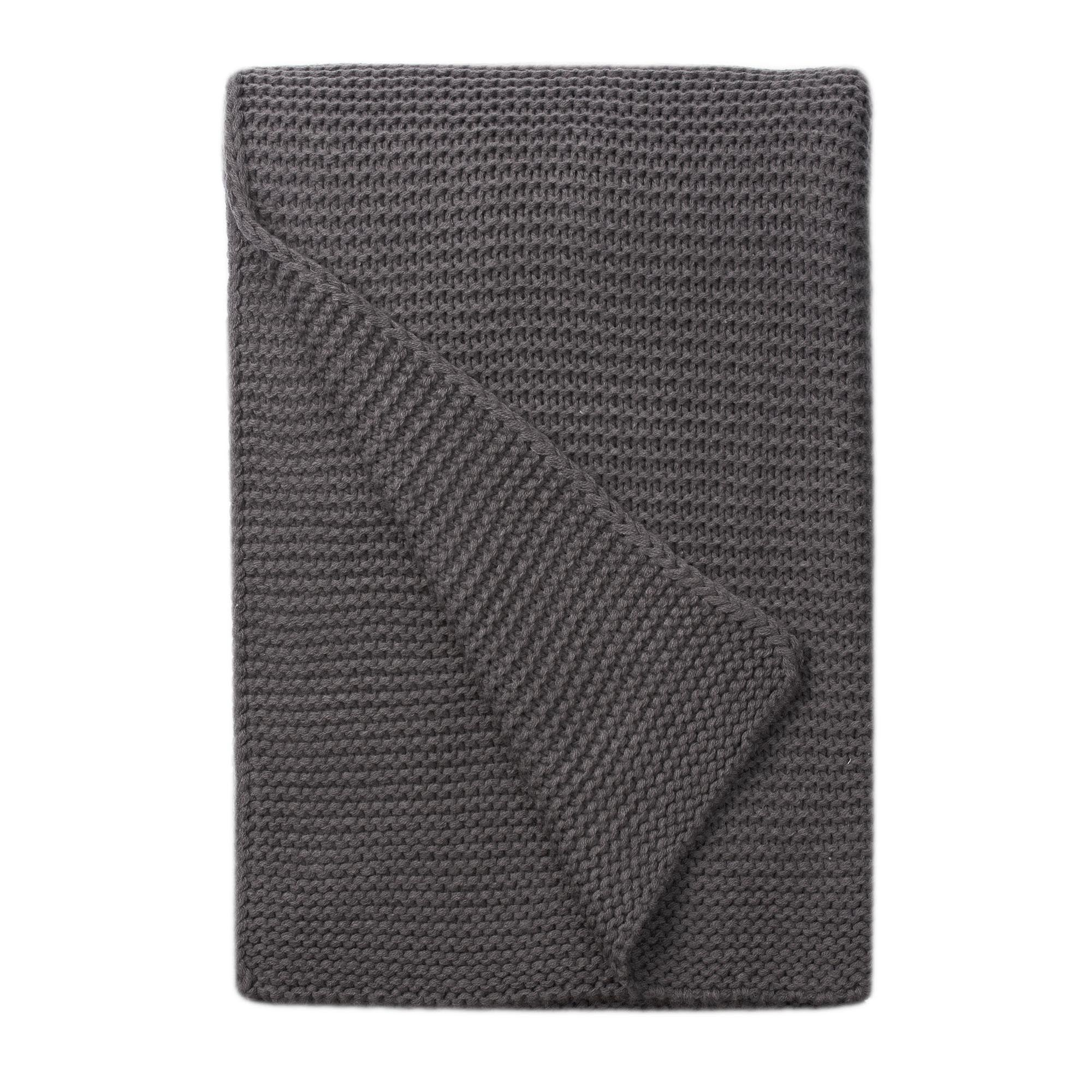 Image of Charcoal Chunky Breckon Throw Charcoal (Grey)