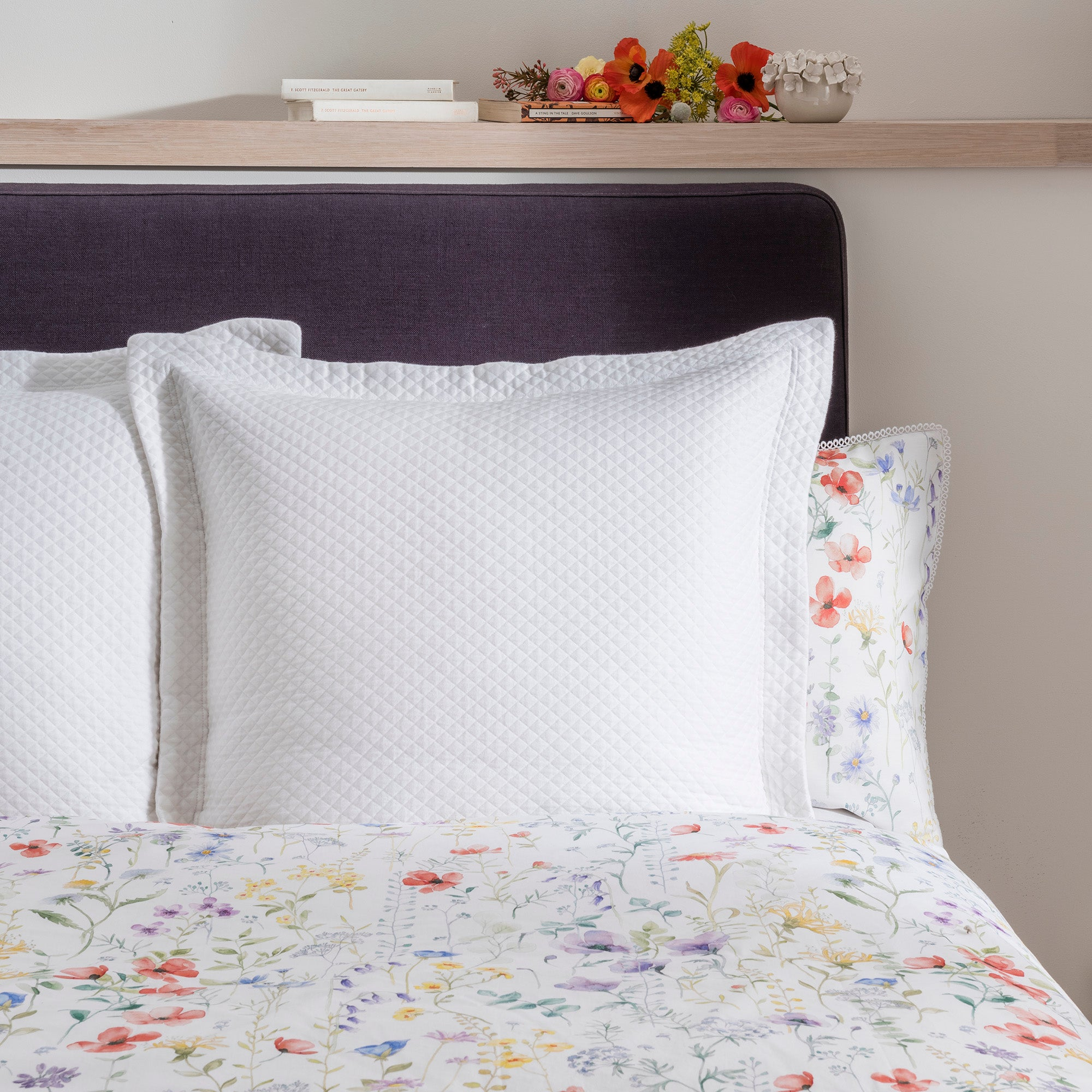 Image of Dorma Wildflower Matalasse Continental Pillowcase White