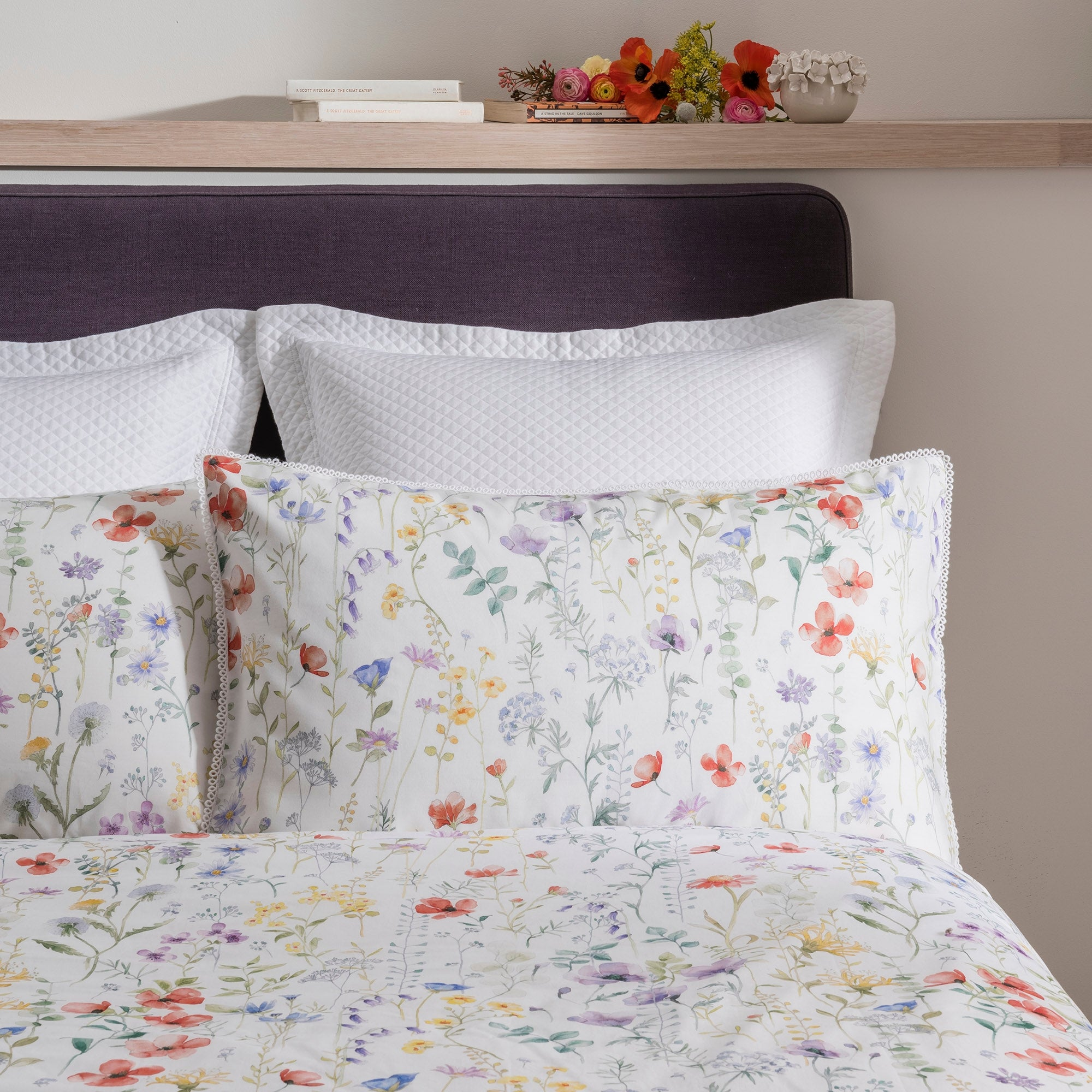Image of Dorma Wildflower Housewife Pillowcase White / Purple