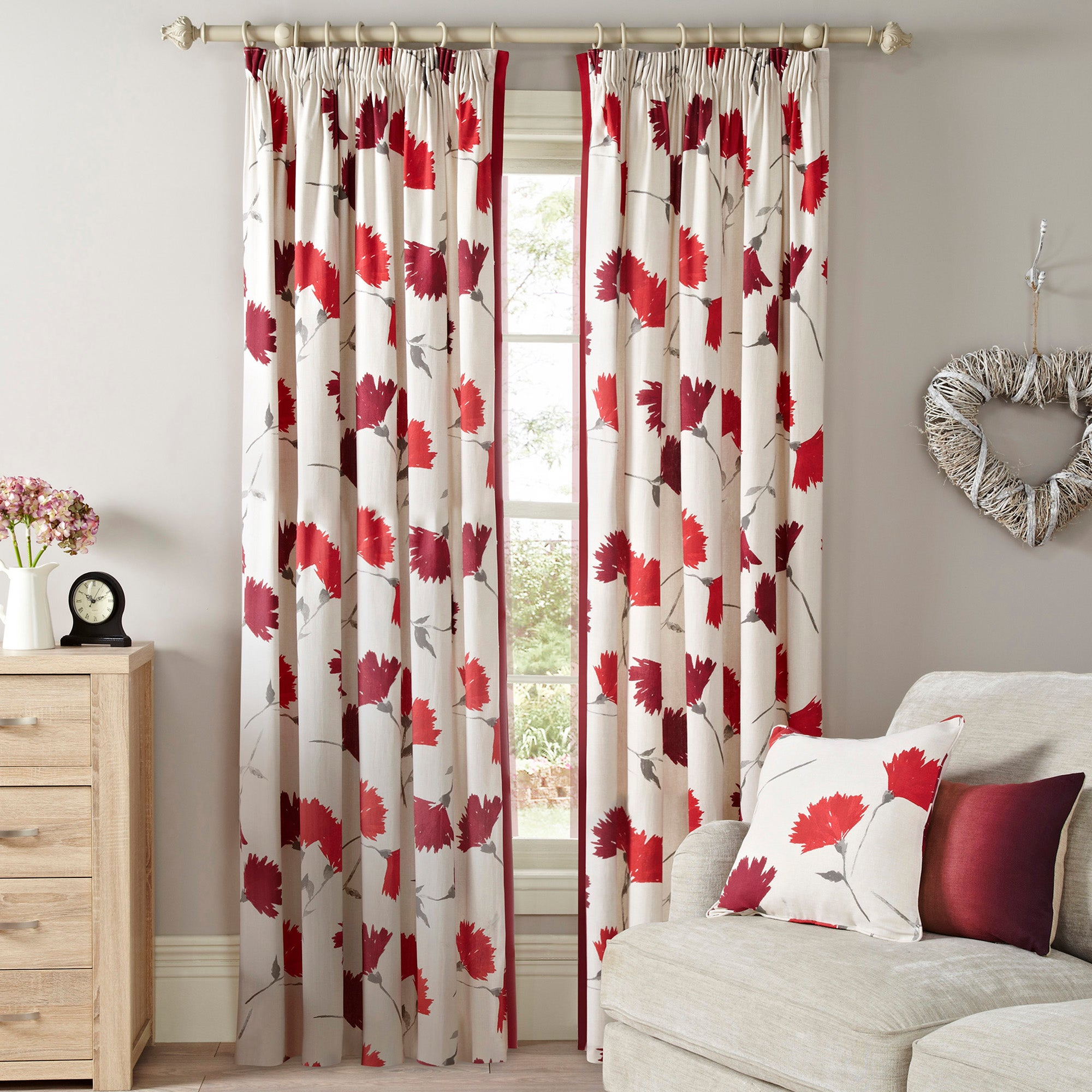 Photo of Aimee red lined pencil pleat curtains red