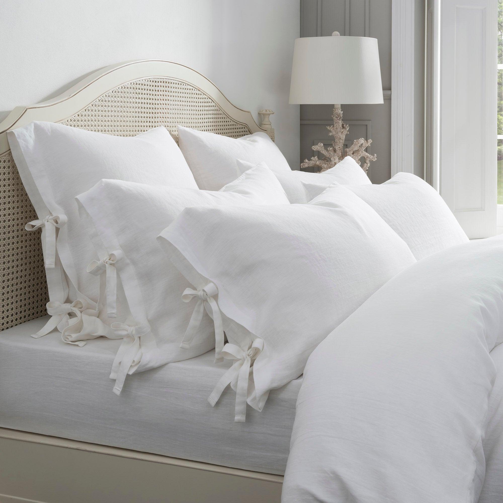 Image of Dorma 100% Linen White Cuffed Pillowcase White