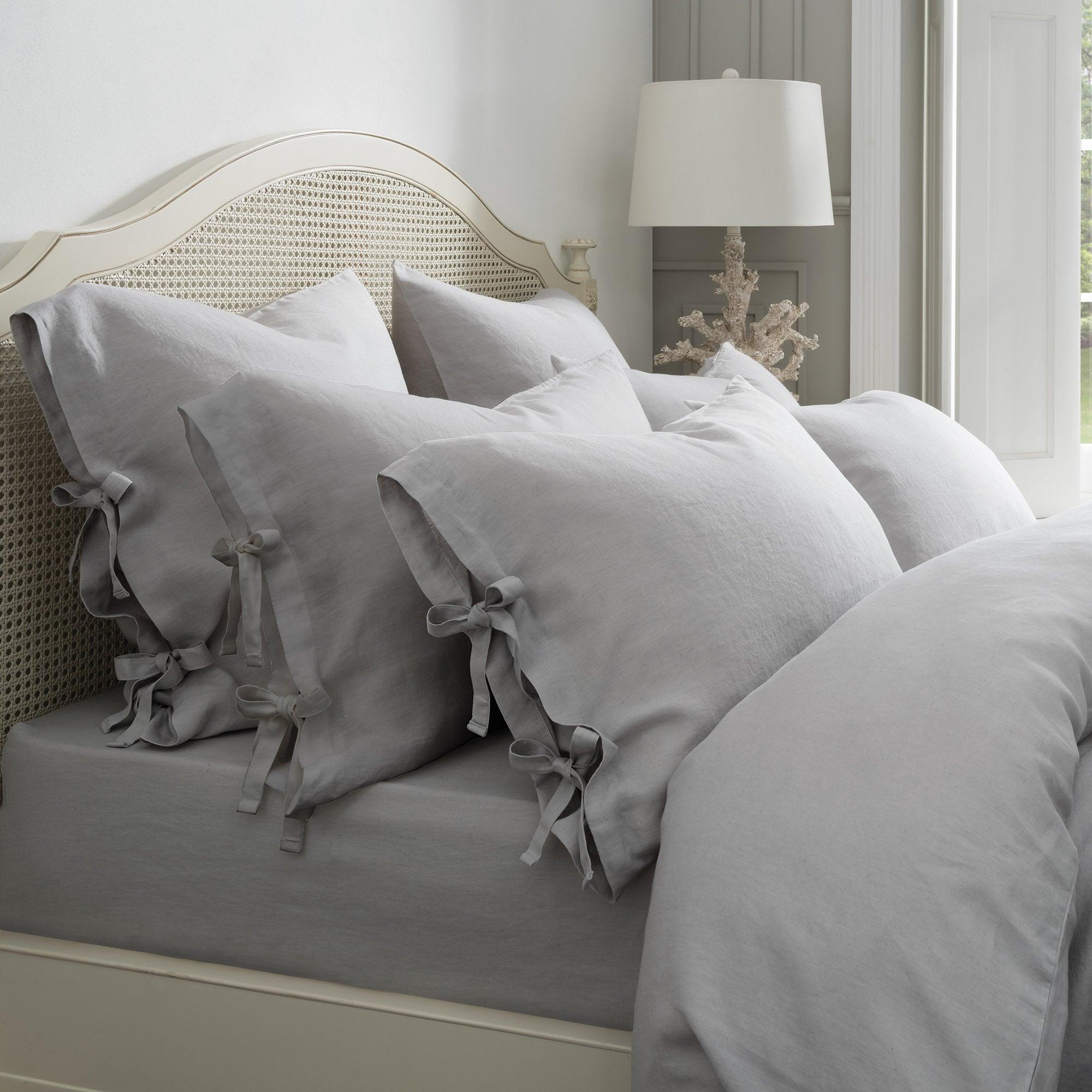 Image of Dorma 100% Linen Grey Continental Pillowcase Grey