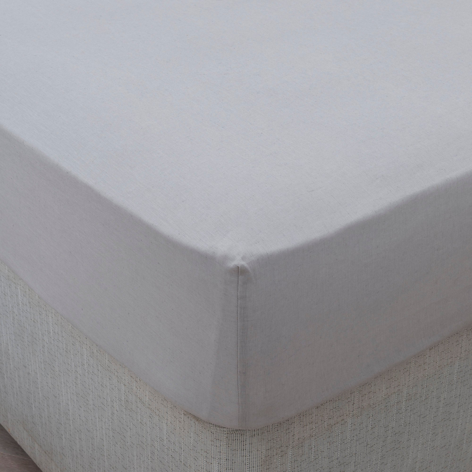 Image of Dorma 100% Linen Grey 35cm Fitted Sheet Grey