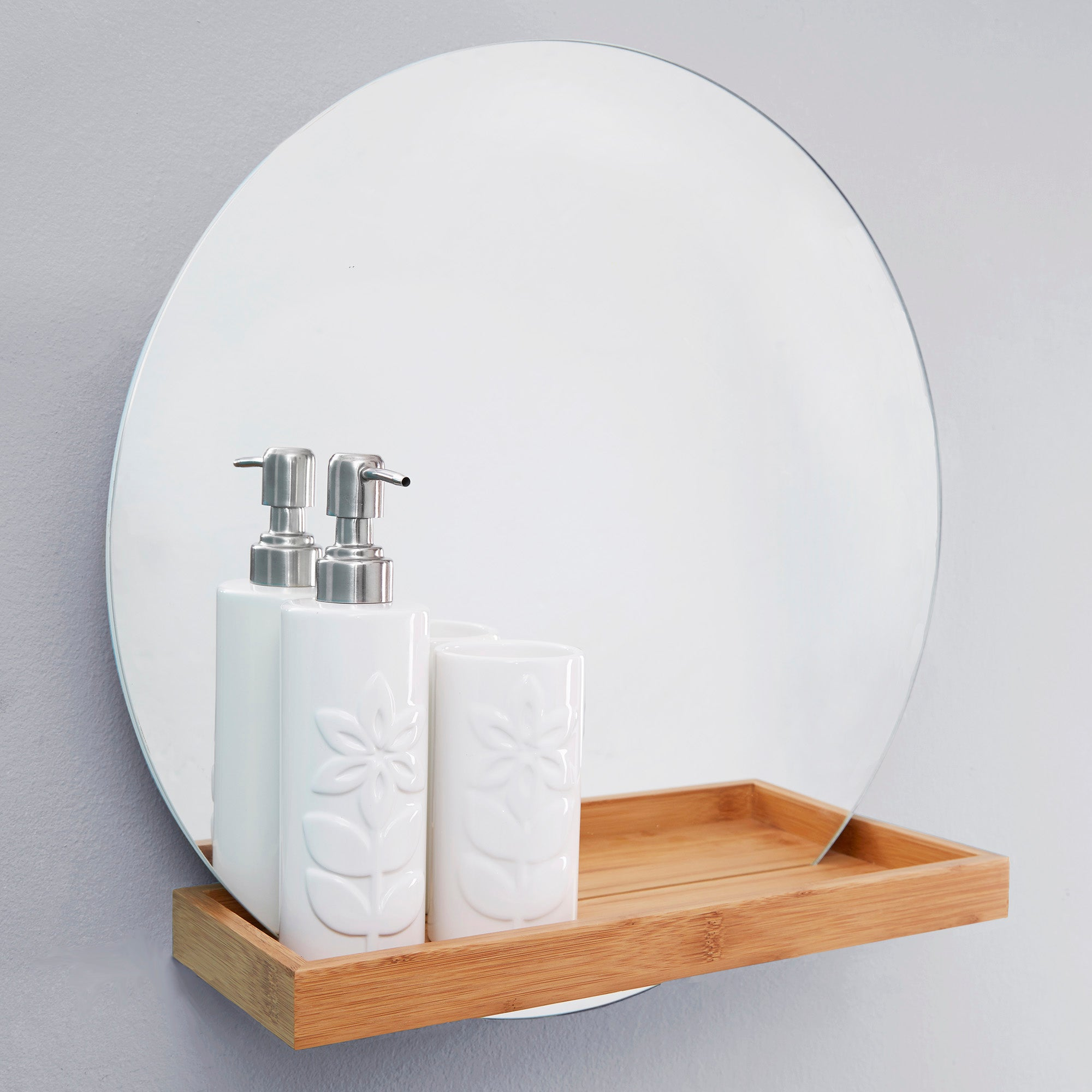 Photo of Elements bathroom mirror with shelf bamboo