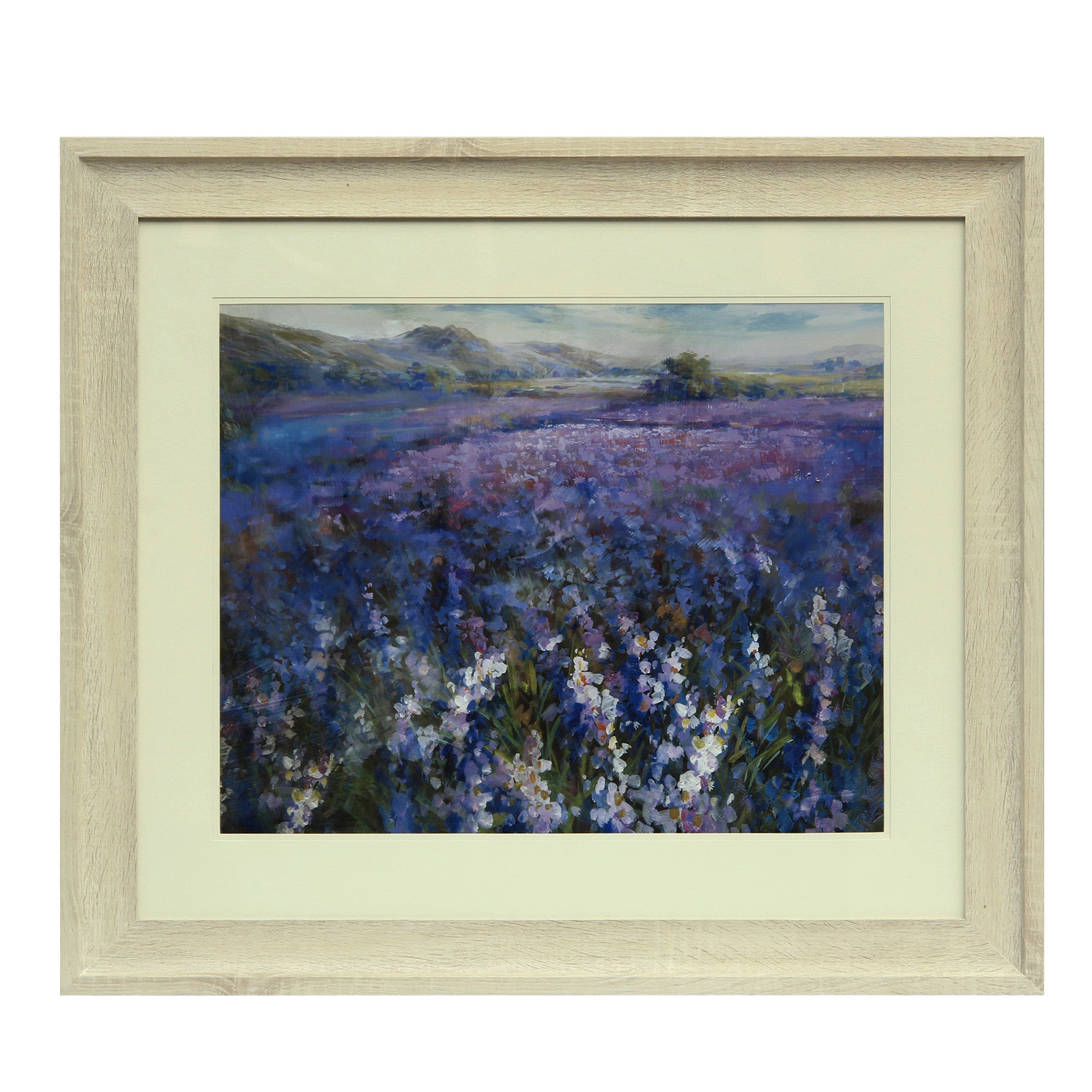Image of Secret Garden Framed Print Cream / Purple