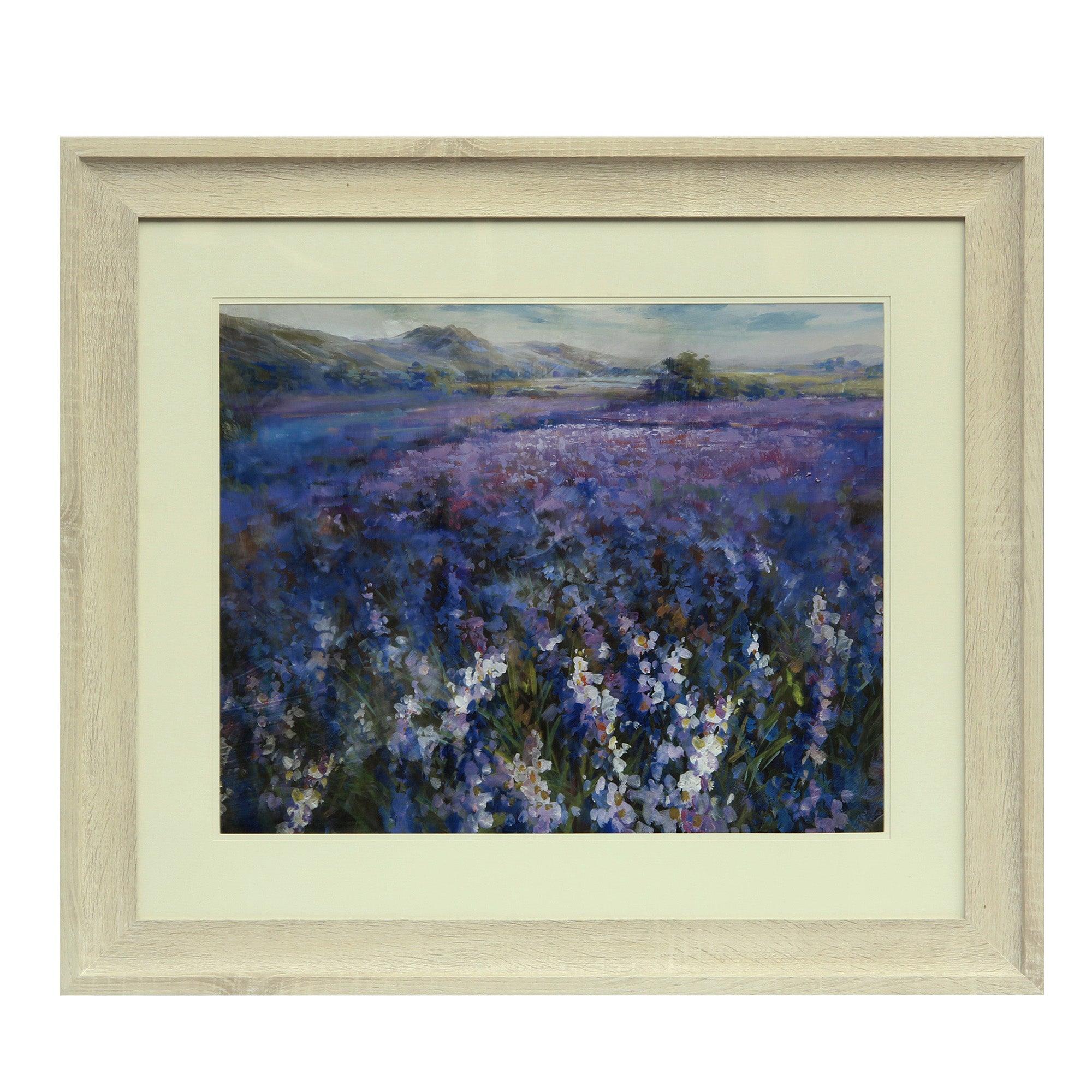 Image of Secret Garden Framed Print Cream / Purple
