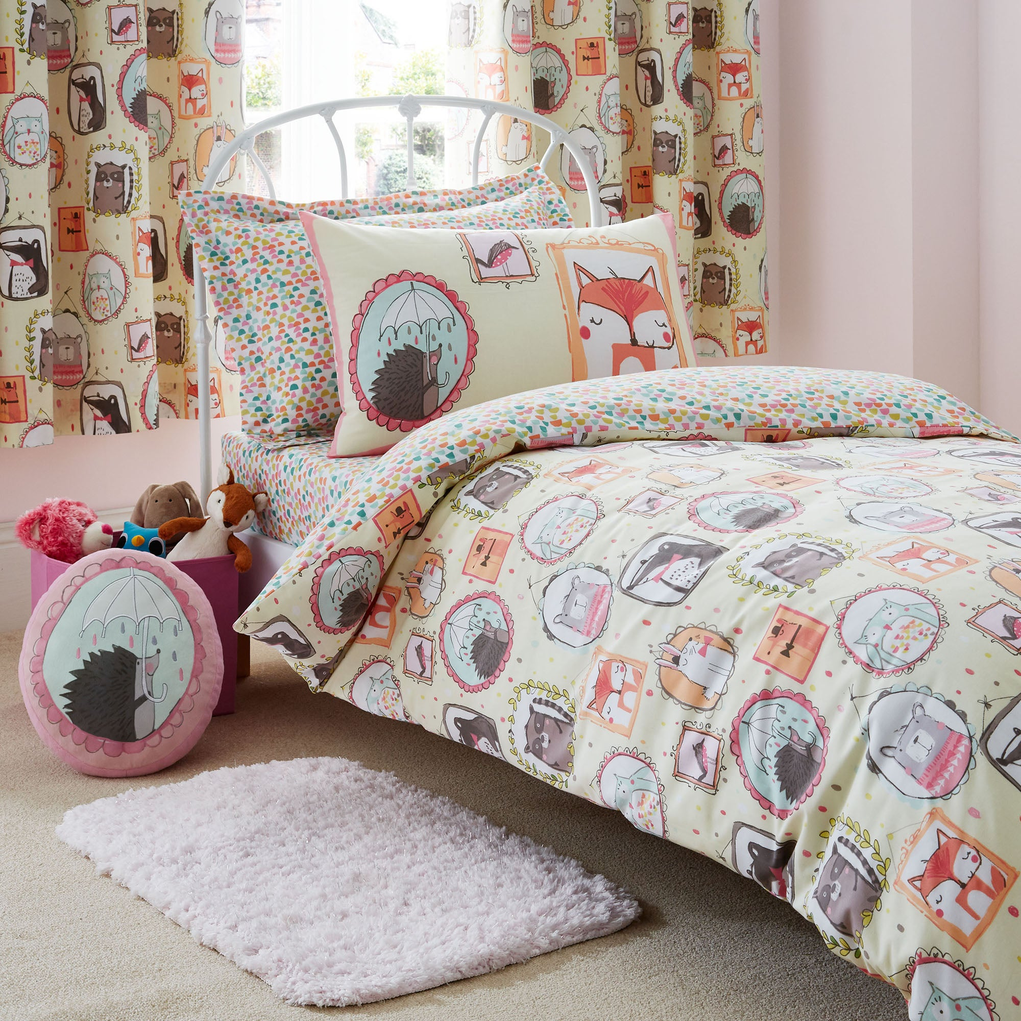 Forest Family Duvet Cover and Pillowcase Set Pink  Blue  Yellow