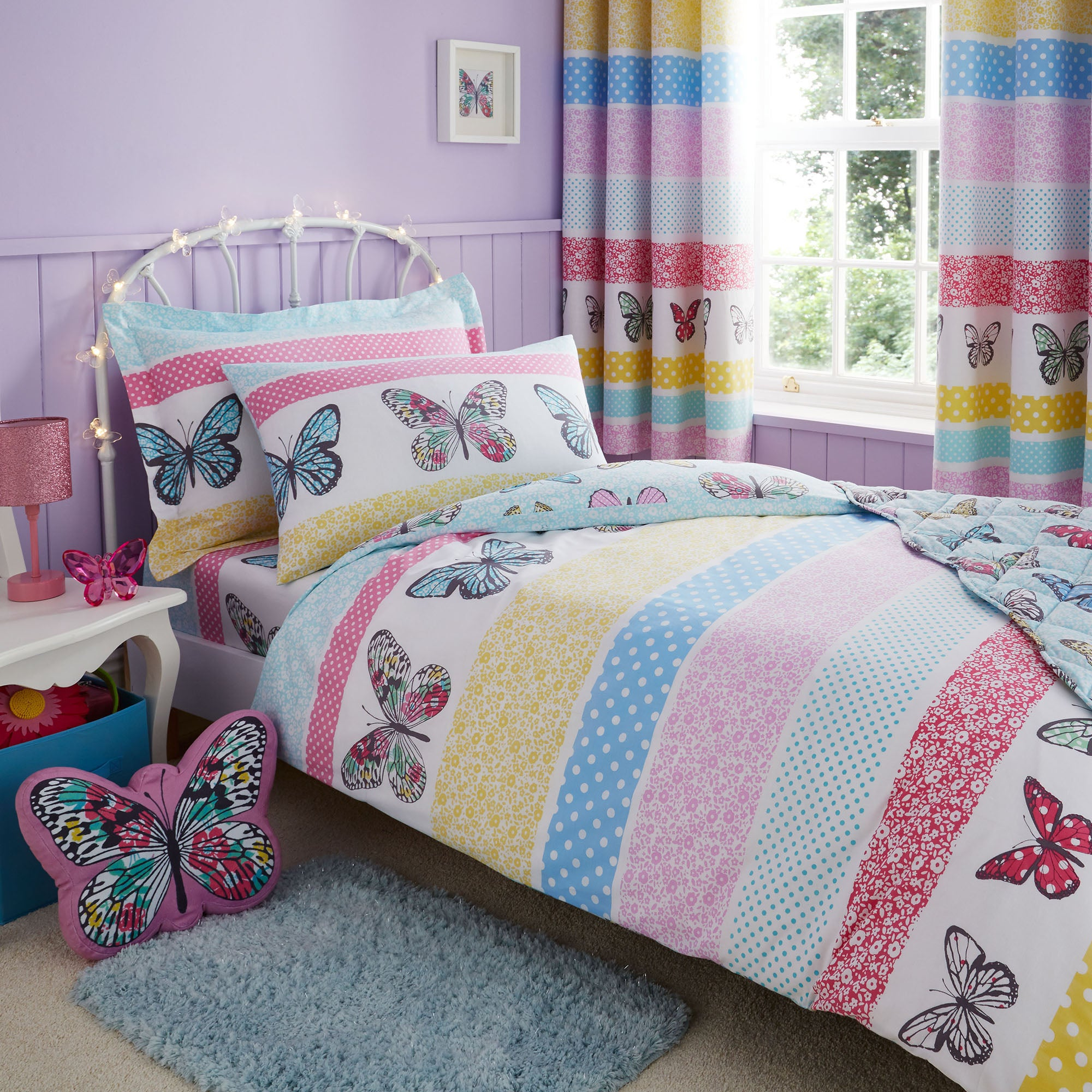 Floral Butterfly Duvet Cover and Pillowcase Set Pink  Blue  Yellow