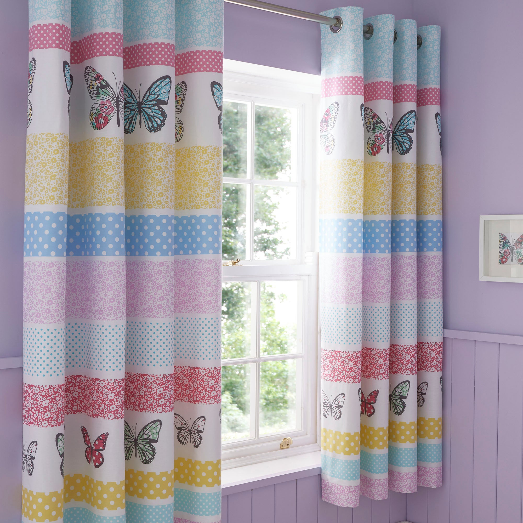 Floral Butterfly Blackout Eyelet Curtains Pink  Blue  Yellow