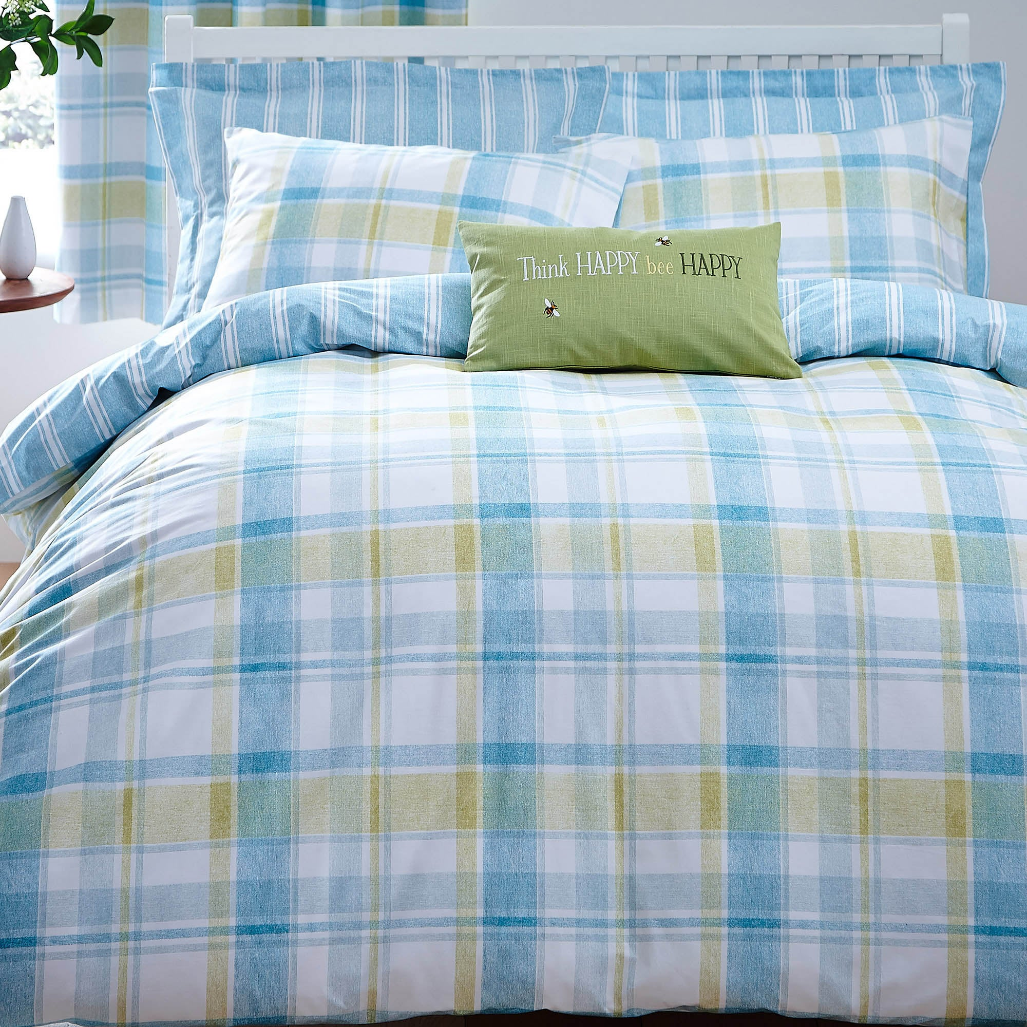 Harrison Check Teal Duvet Cover and Pillowcase Set Teal (Blue)