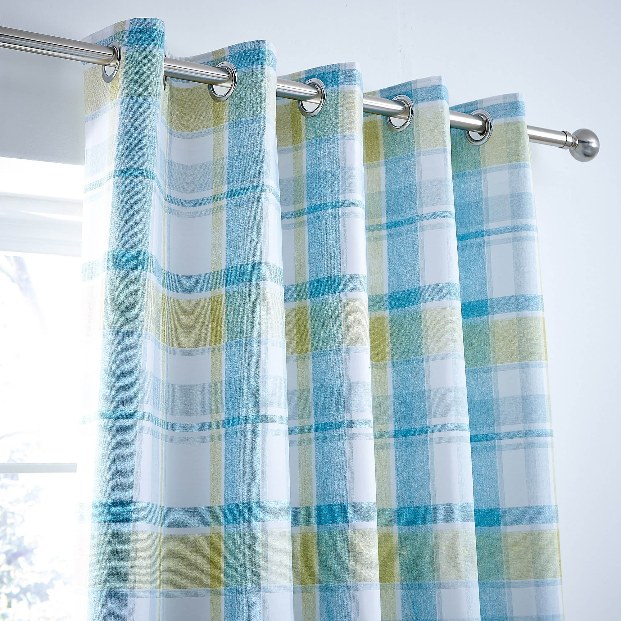 Harrison Check Teal Blackout Eyelet Curtains Teal (Blue)