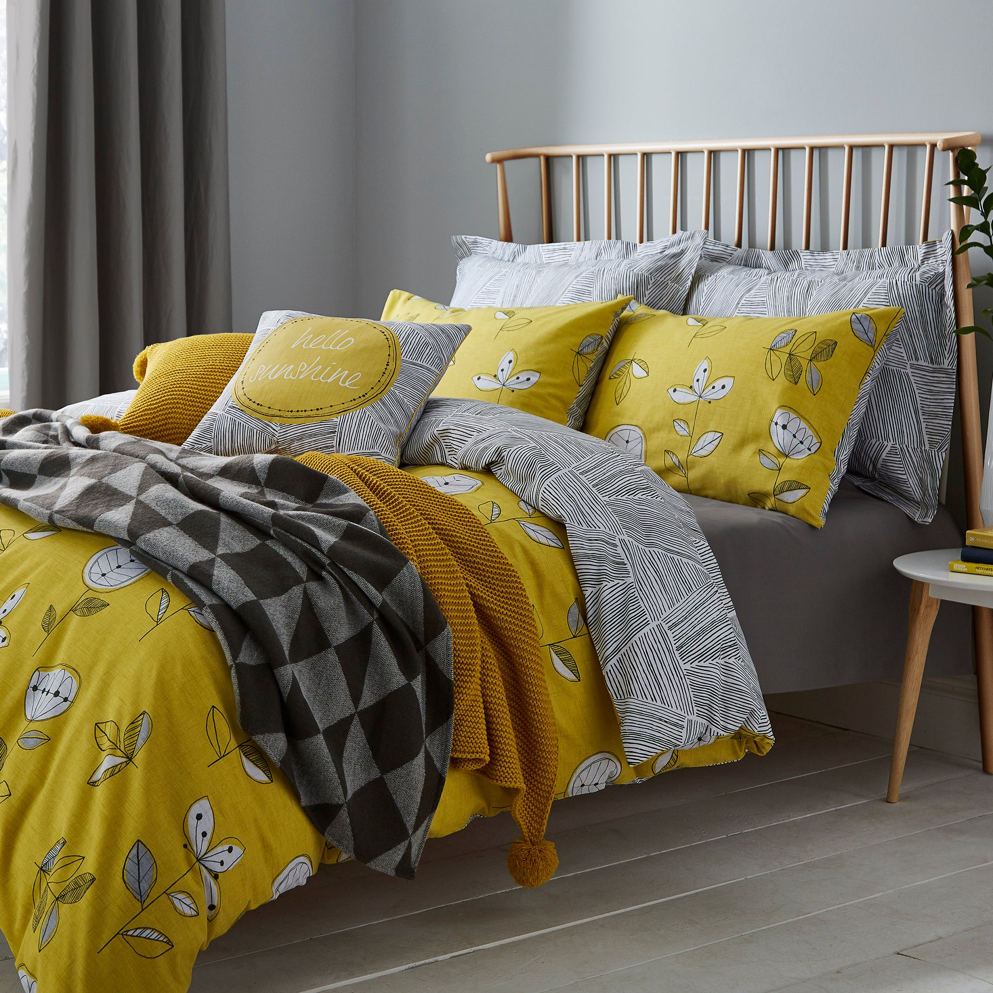 Image of Elements Sunflower Yellow Reversible Duvet Cover and Pillowcase Set Yellow