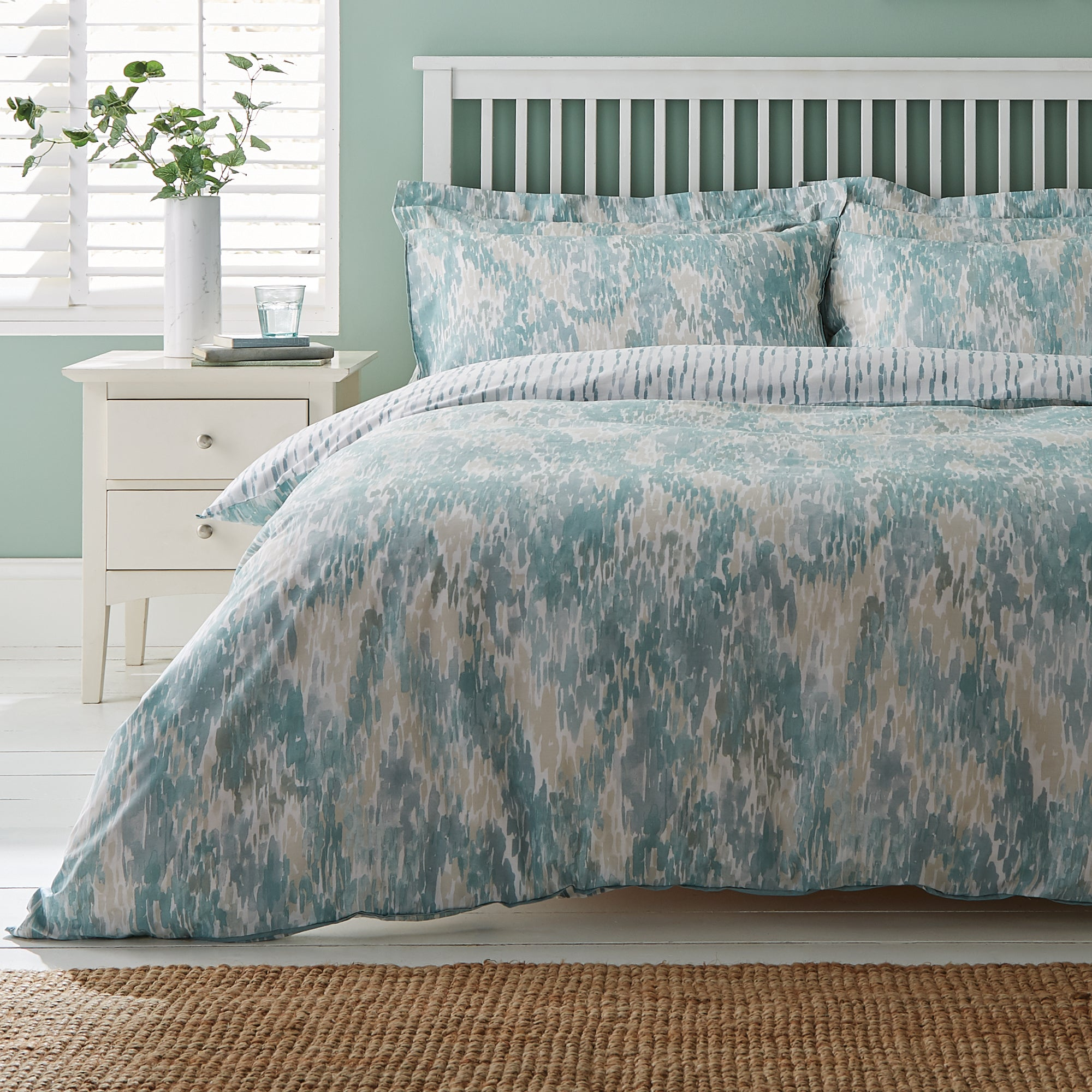 Waves Teal Duvet Cover and Pillowcase Set Teal Blue