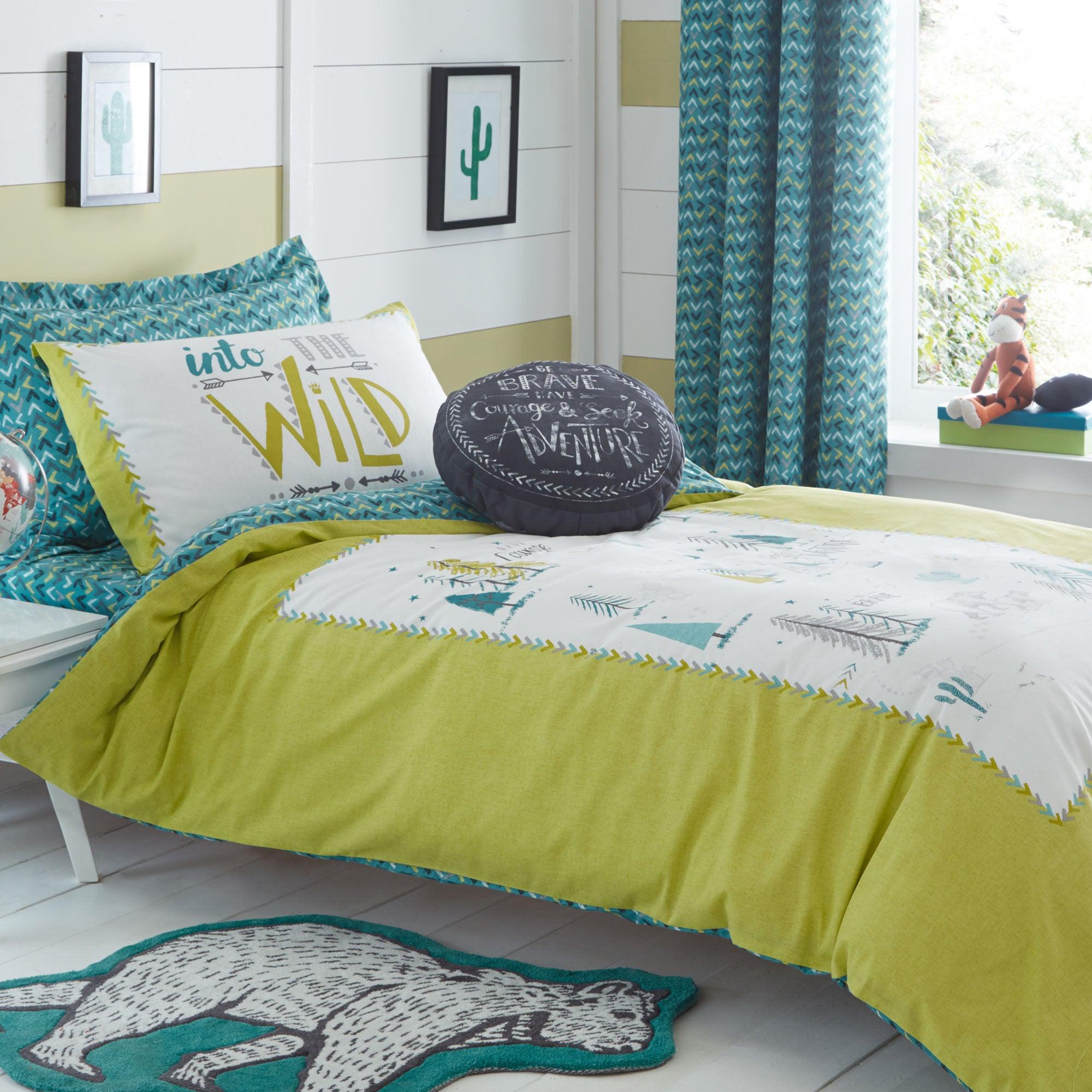 Image of Adventurer Single Duvet Cover and Pillowcase Set Light Green