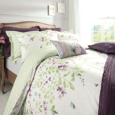 Wisley Fl Green Reversible Duvet Cover And Pillowcase Set