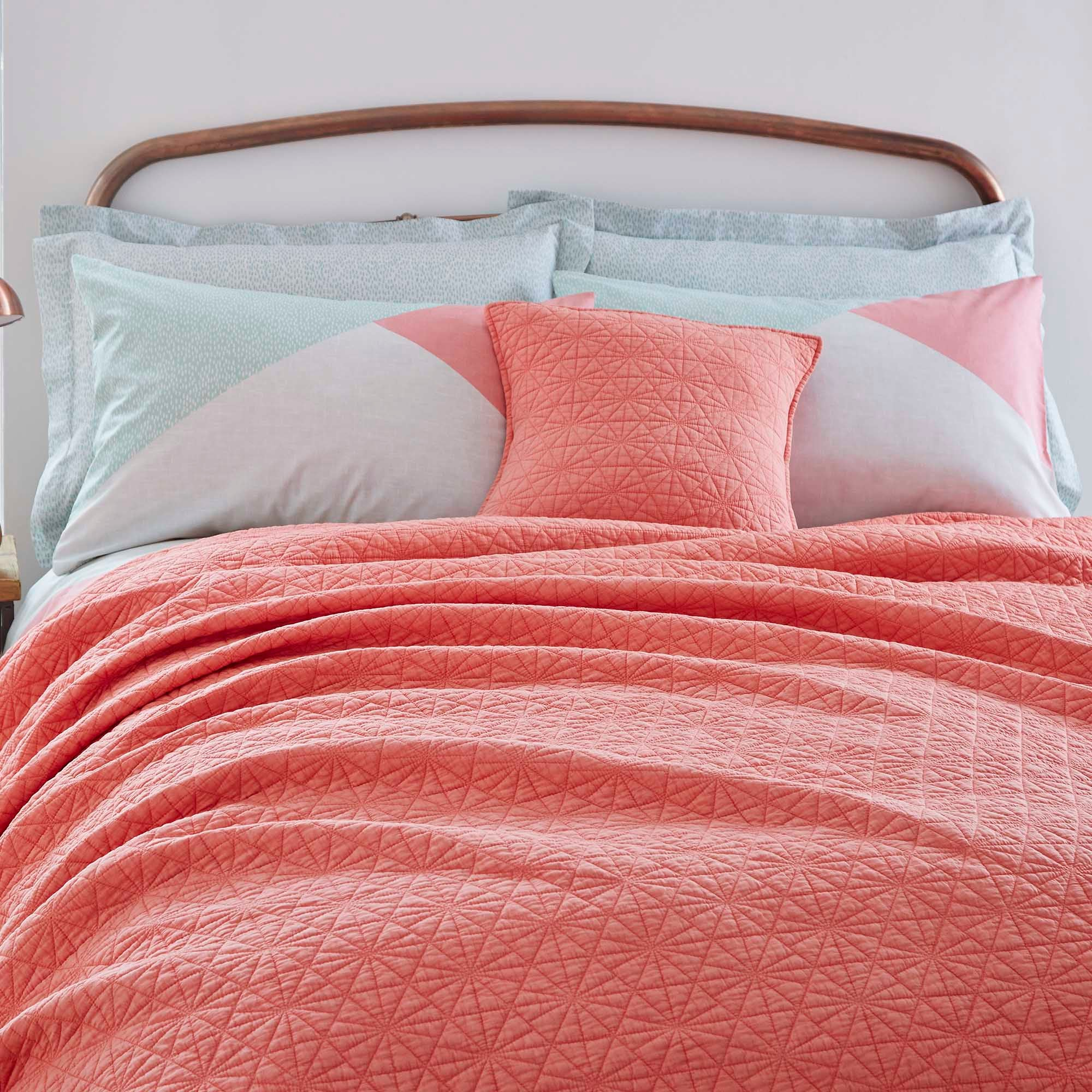 Quilted Coral Bedspread Coral Red