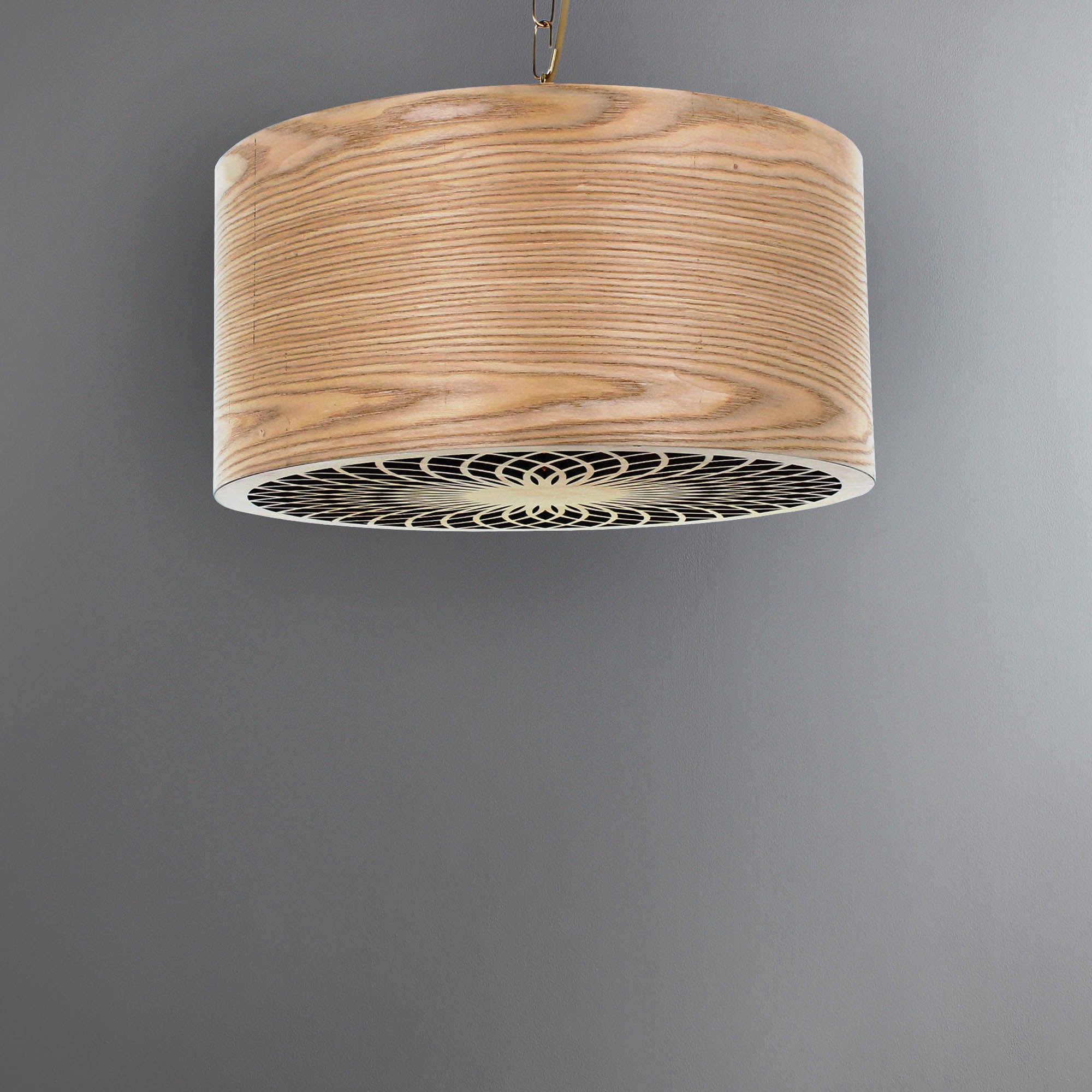 Photo of Wood effect cut out drum pendant natural