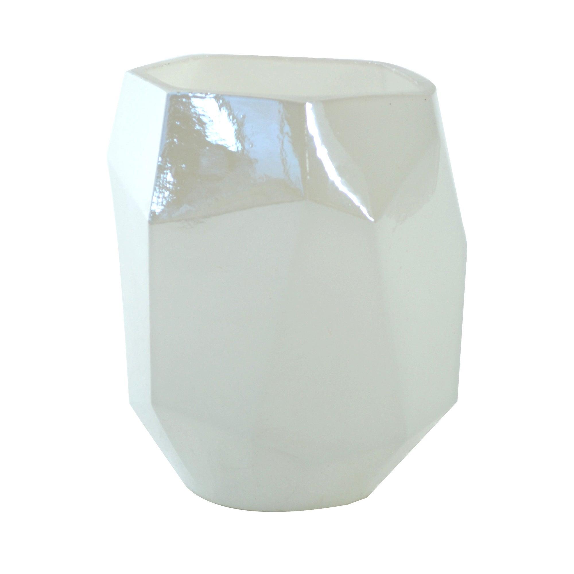 Photo of Geo lustre glass votive holder white