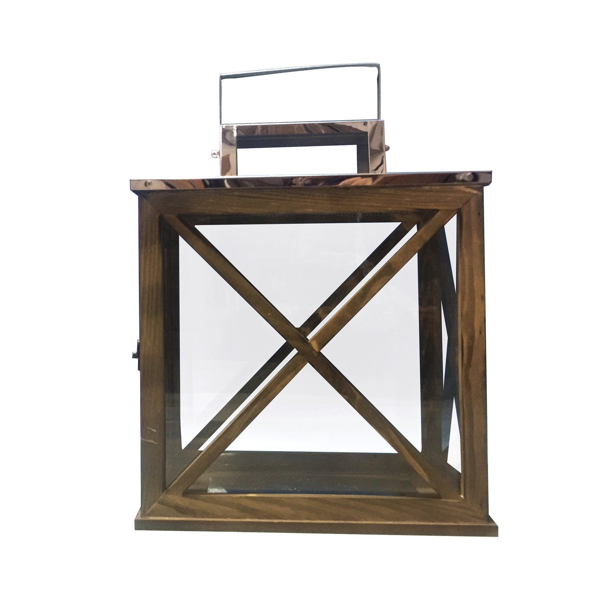 Image of Churchgate Rectangular Wooden Lantern Brown