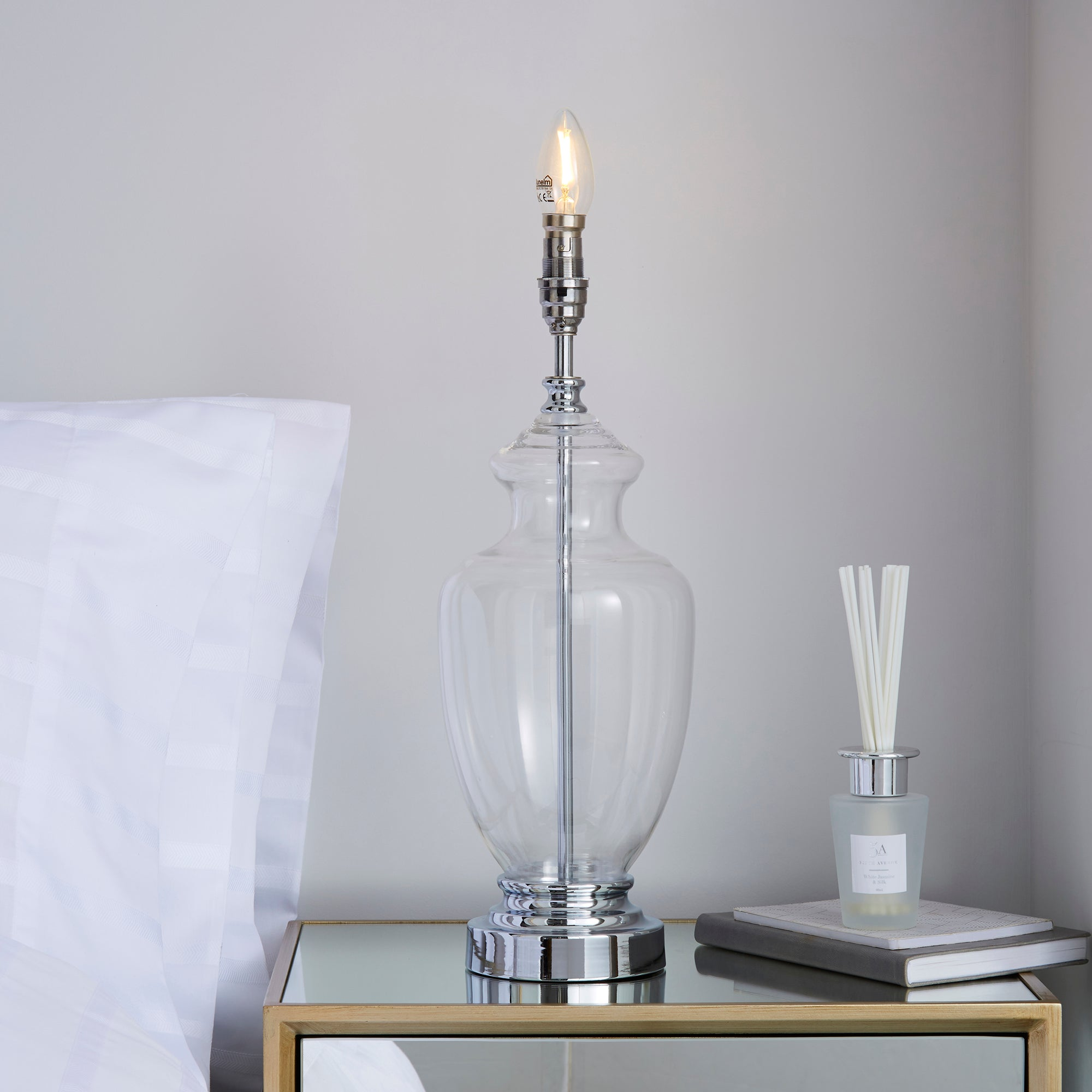 Photo of Parker clear table lamp base chrome