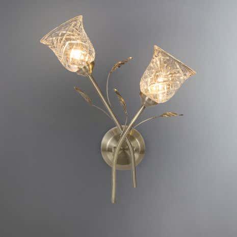 Lindy 2 light antique brass wall light dunelm lindy 2 light antique brass wall light aloadofball Images