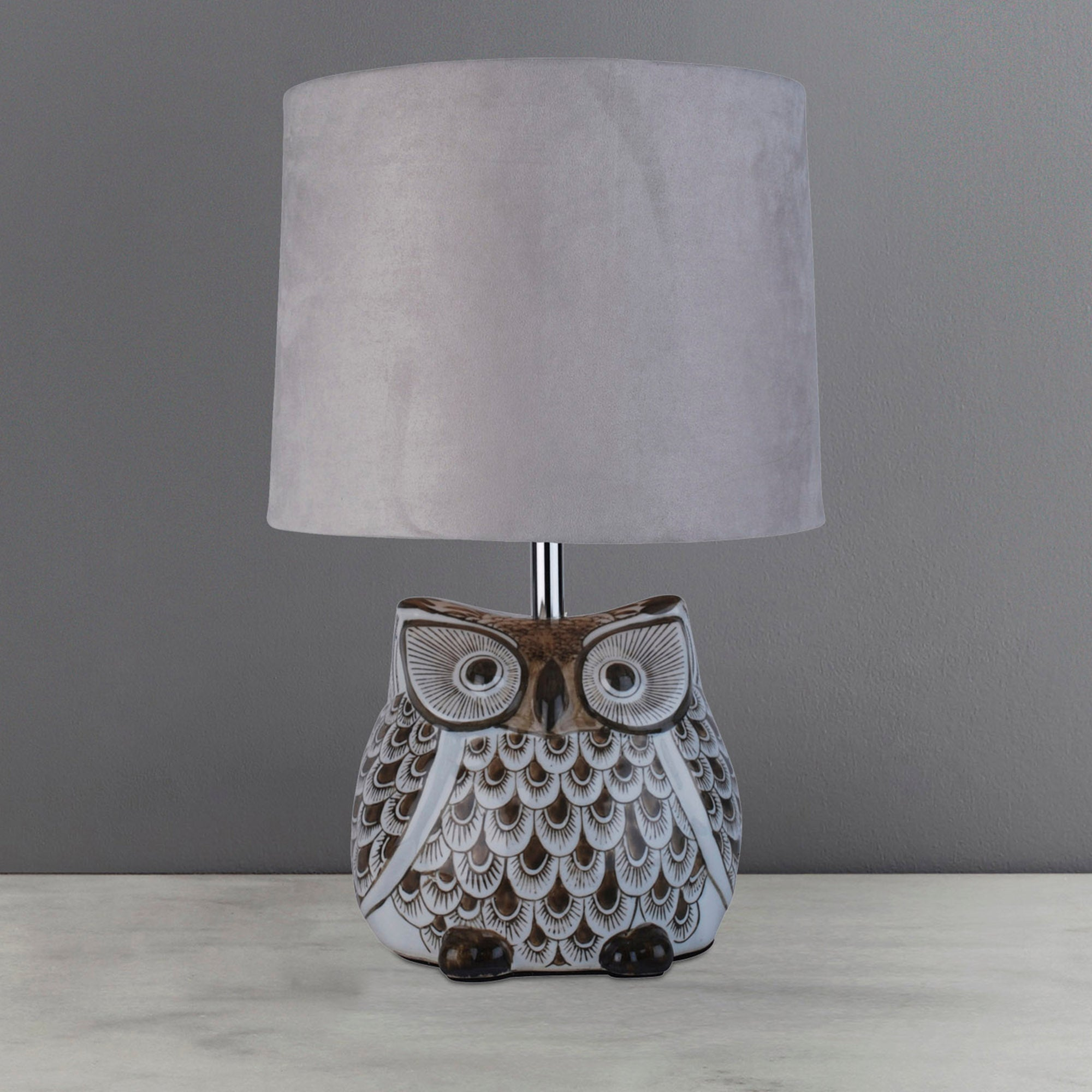 Photo of Hoot owl ceramic table lamp natural