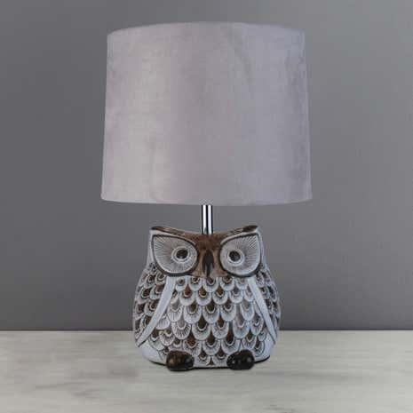 Hoot owl ceramic table lamp dunelm hoot owl ceramic table lamp mozeypictures Choice Image